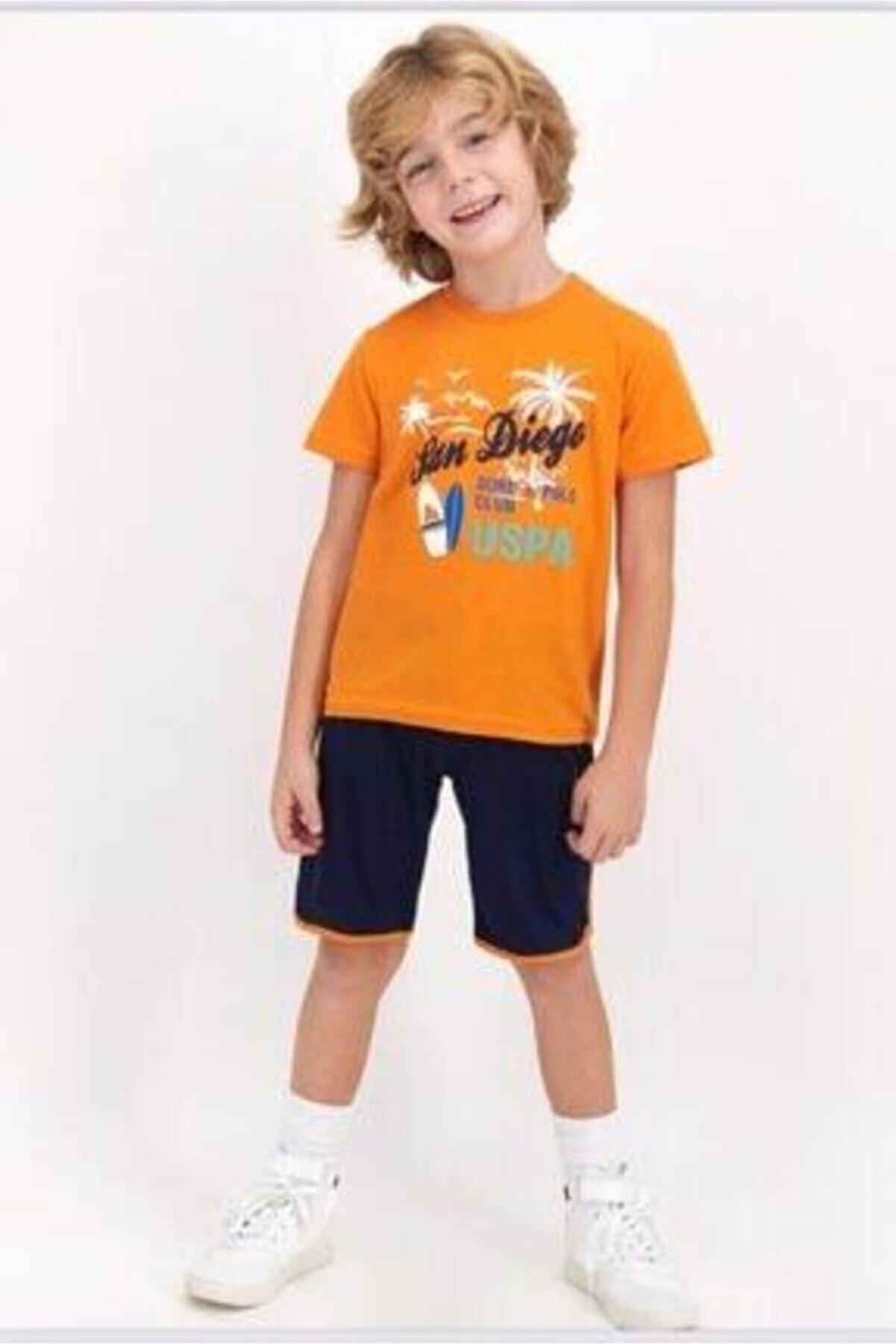 US Polo Assn Erkek Çocuk Turuncu Takım  822-g