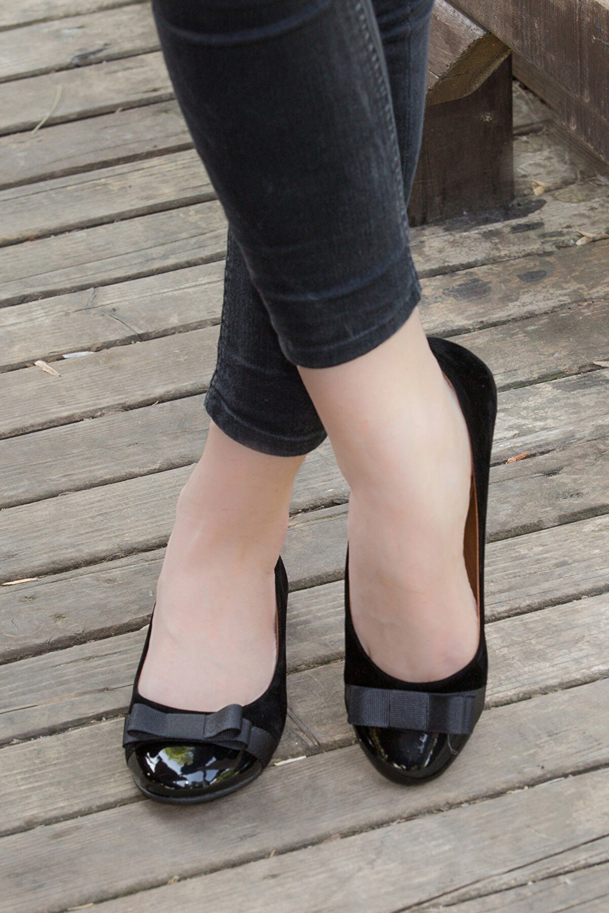 Fox Shoes Siyah Kadın Babet 8726019502