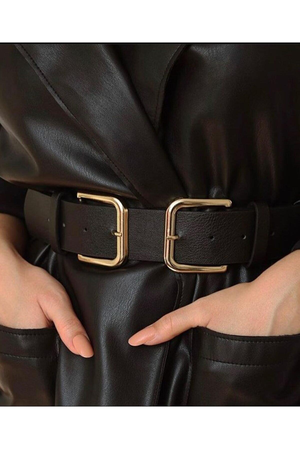 BellaVino Kadın Siyah Çift Tokalı Kemer R5099m