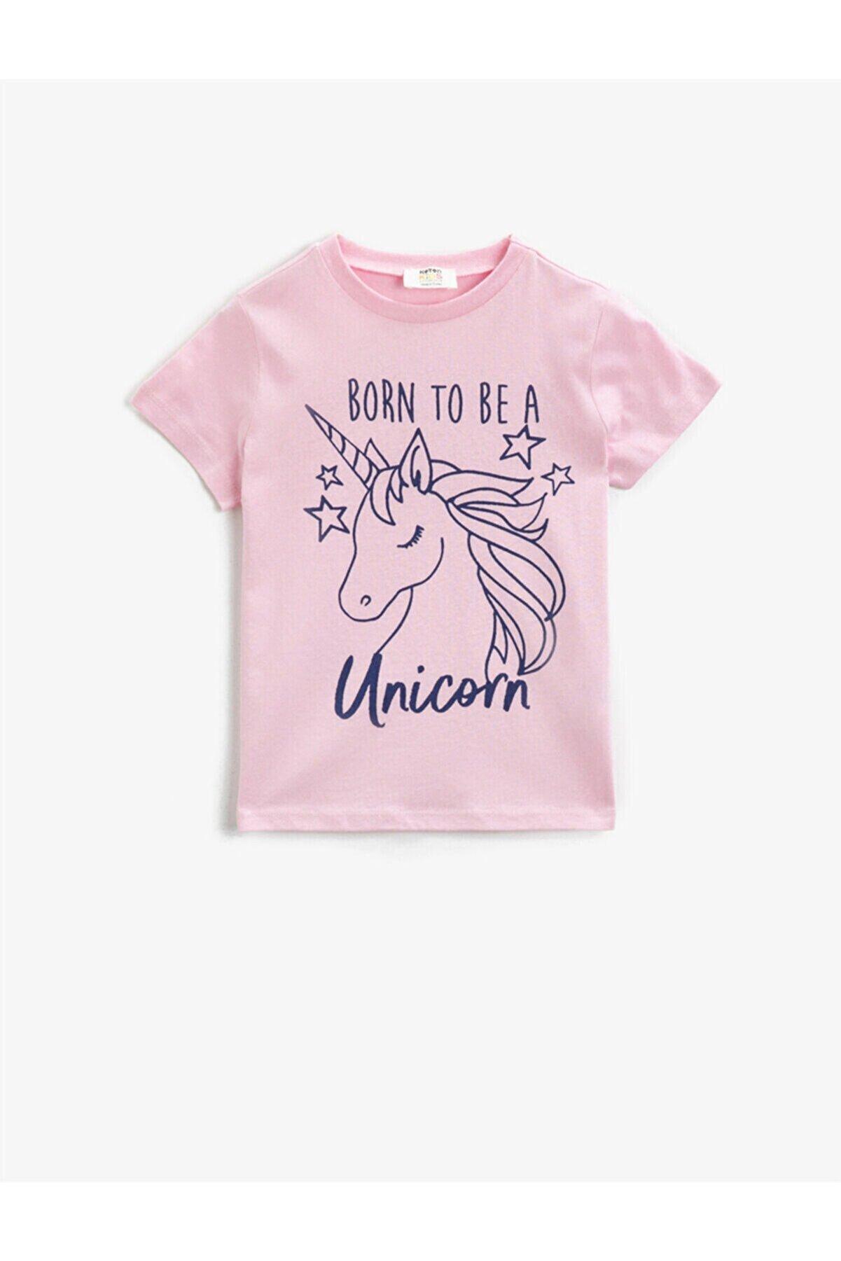 Koton Kız Pembe Unicorn Baskili Kisa Kollu Bisiklet Yaka Pamuklu Tisört