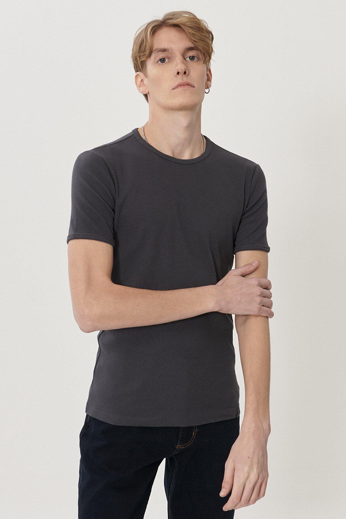 Lee Erkek Antrasit Regular Fit Bisiklet Yaka T-Shirt