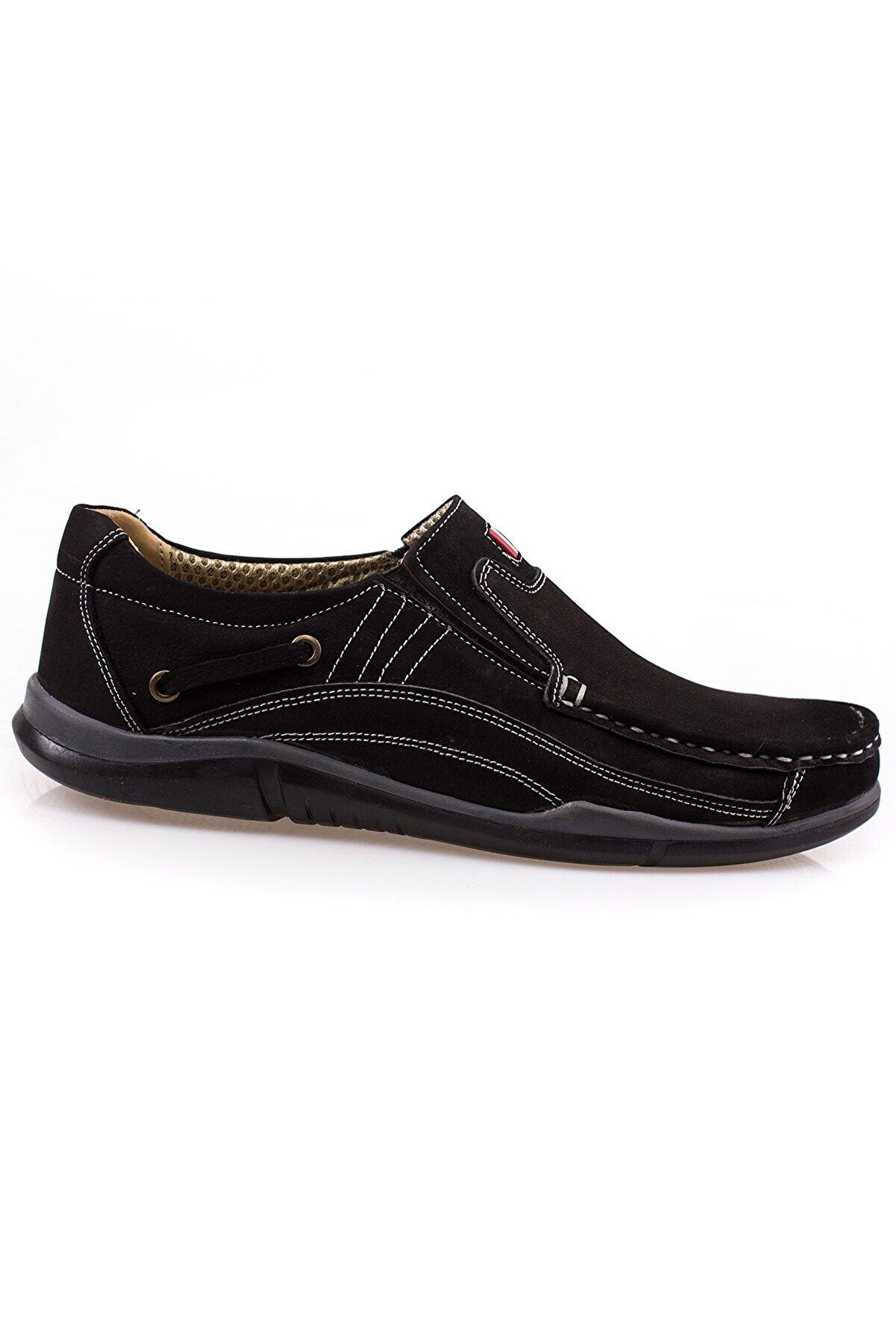 maximoda Erkek Siyah Hakiki Nubuk Deri Loafer Ayakkabı