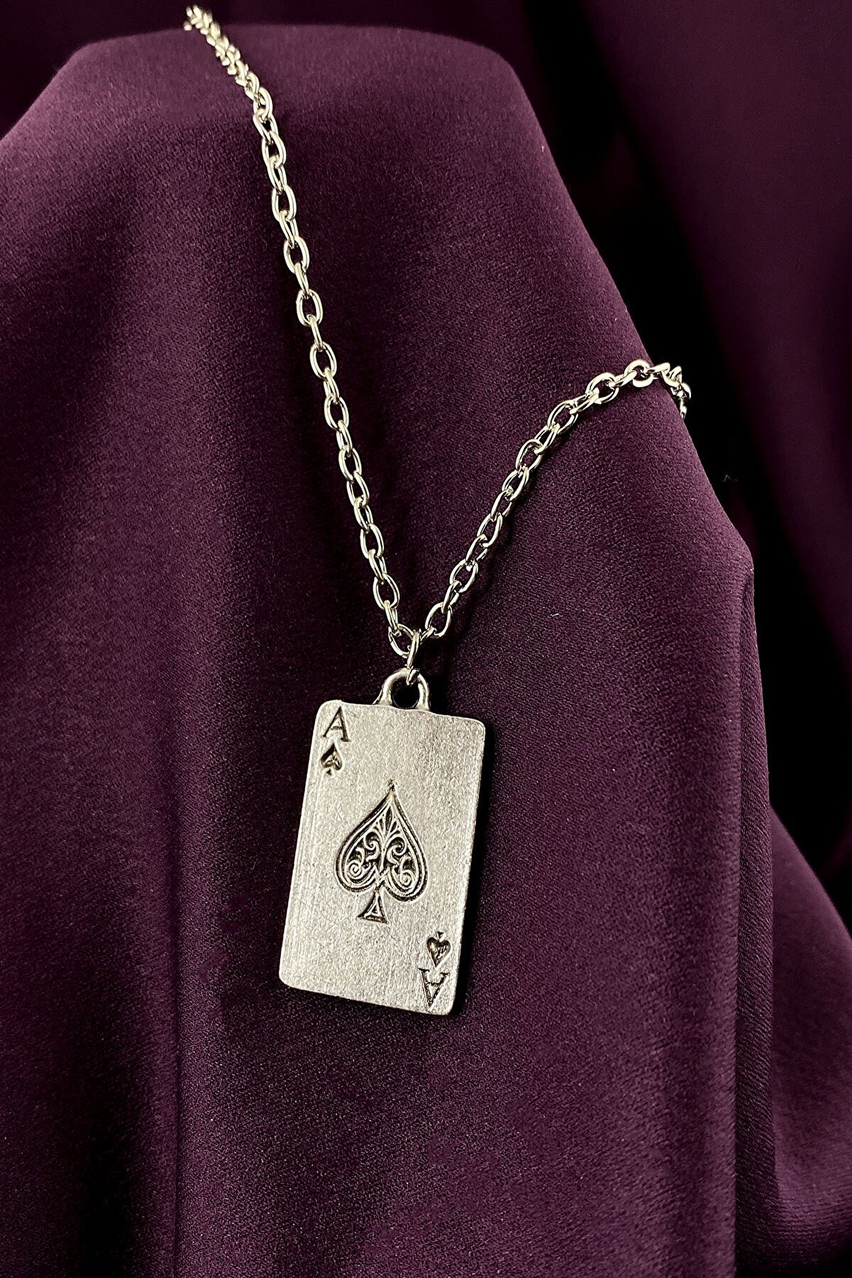 MOONİ ACCESSORİES Maça As Poker İskambil Mat Gümüş Kaplama Zincir Kolye