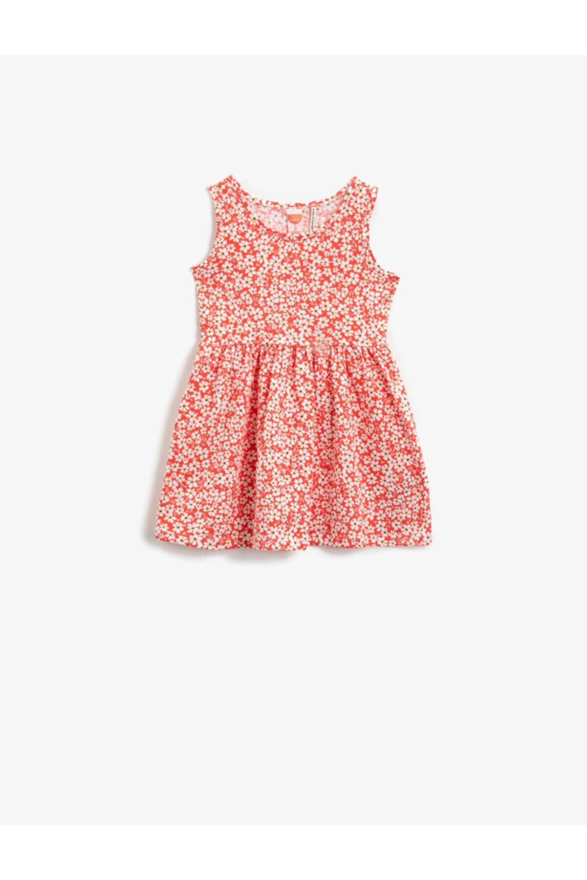 Koton Kız Bebek Kırmızı Kız Çiçekli Elbise