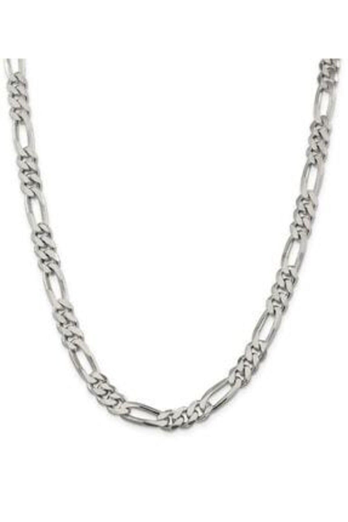 ENCİLİ SİLVER Erkek Silver Encili Gümüş Figaro Zincir Kolye 60 cm 925 Ayar