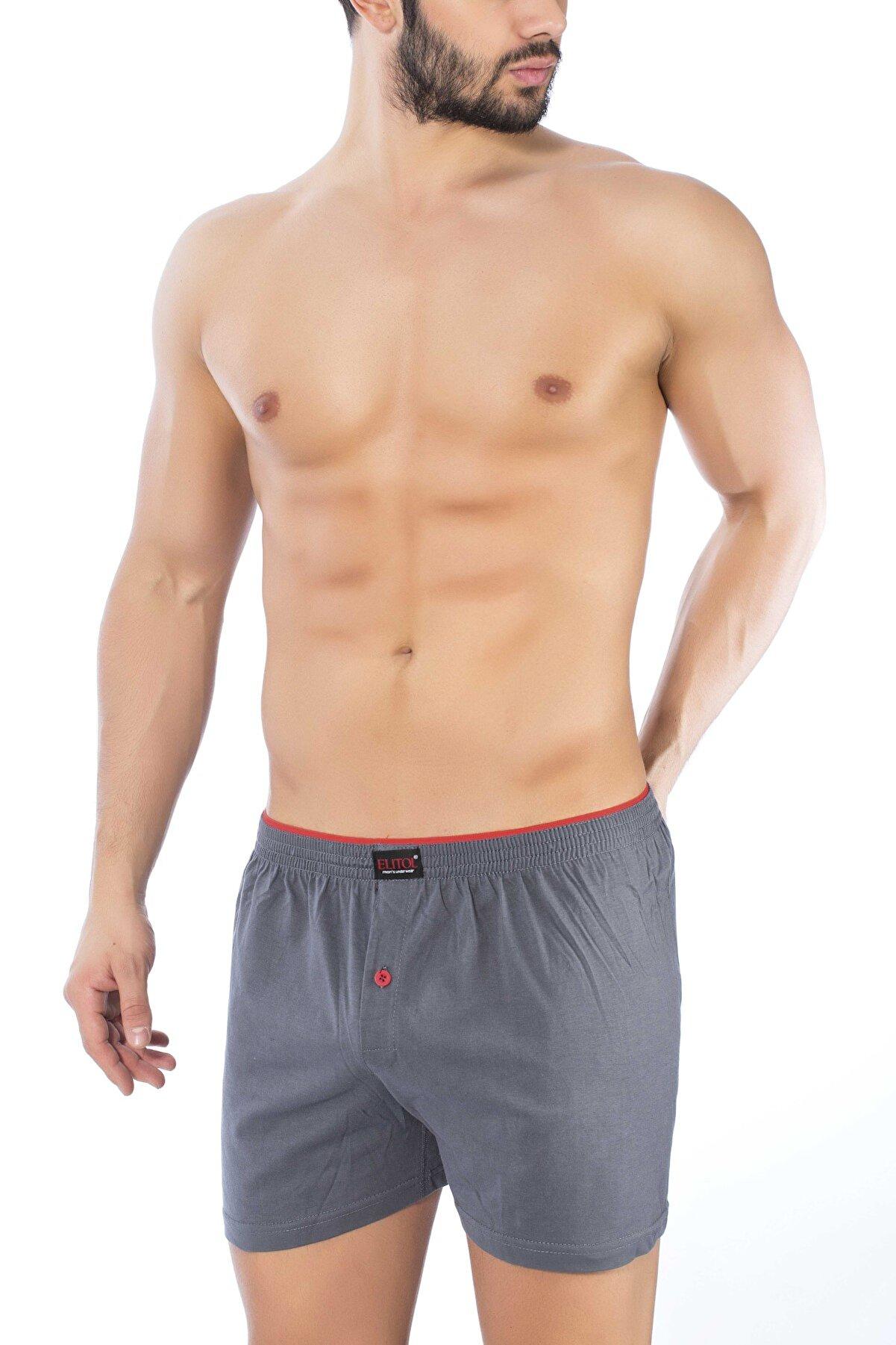 ELİTOL Erkek Antrasit  Penye Havlu Bel Boxer 10015