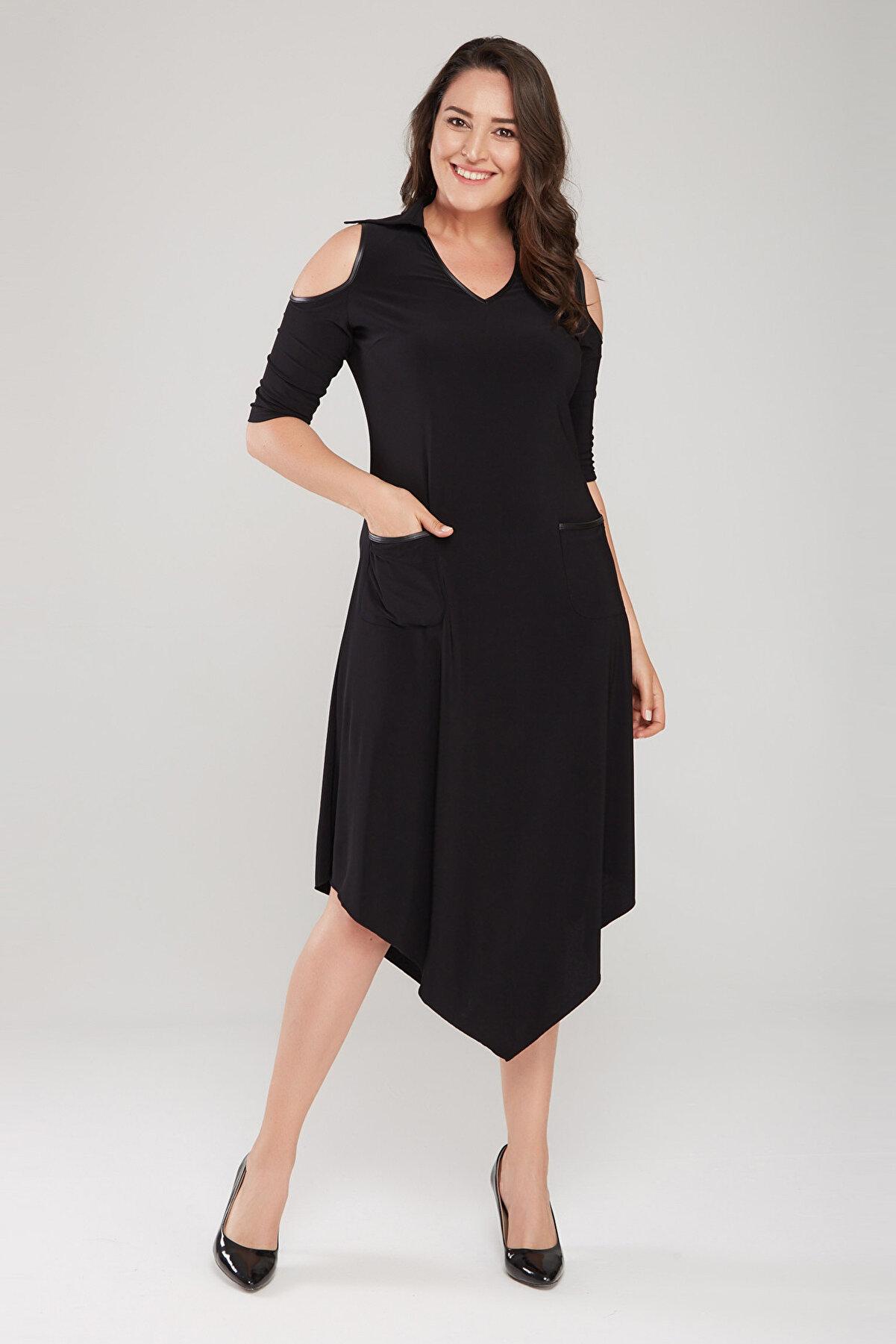 Laranor Kadın Siyah Omuz Detaylı Gömlek Yaka Asimetrik Kesim Elbise 17LB9092