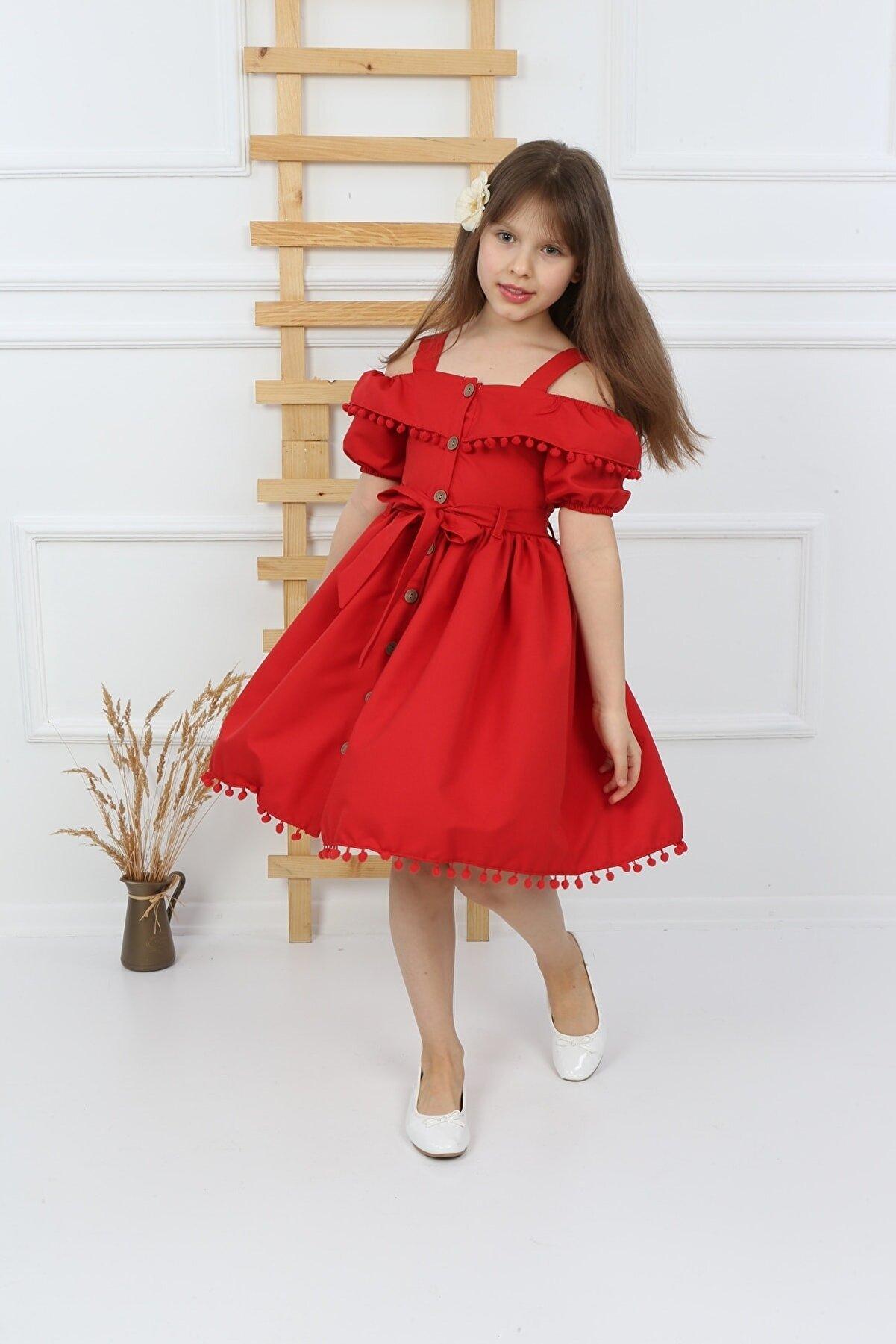 şımarık kids Kız Çocuk Kırmızı Ponponlu Krep Elbise
