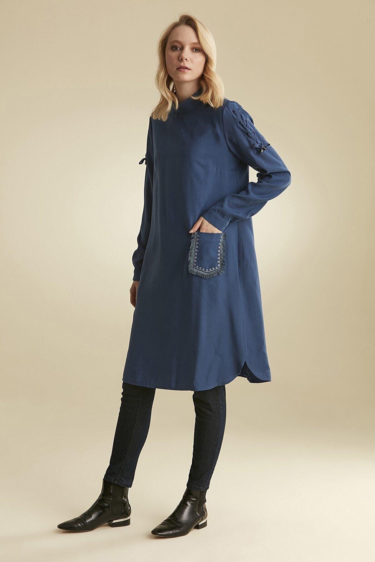Nihan Kadın Lacivert Süs Cep Detaylı Tunik