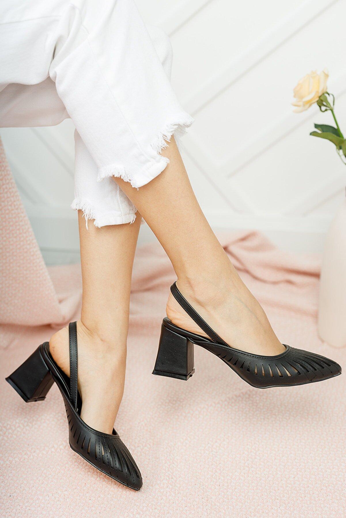 Moda Değirmeni Kadın Siyah Kalın Topuklu Ayakkabı