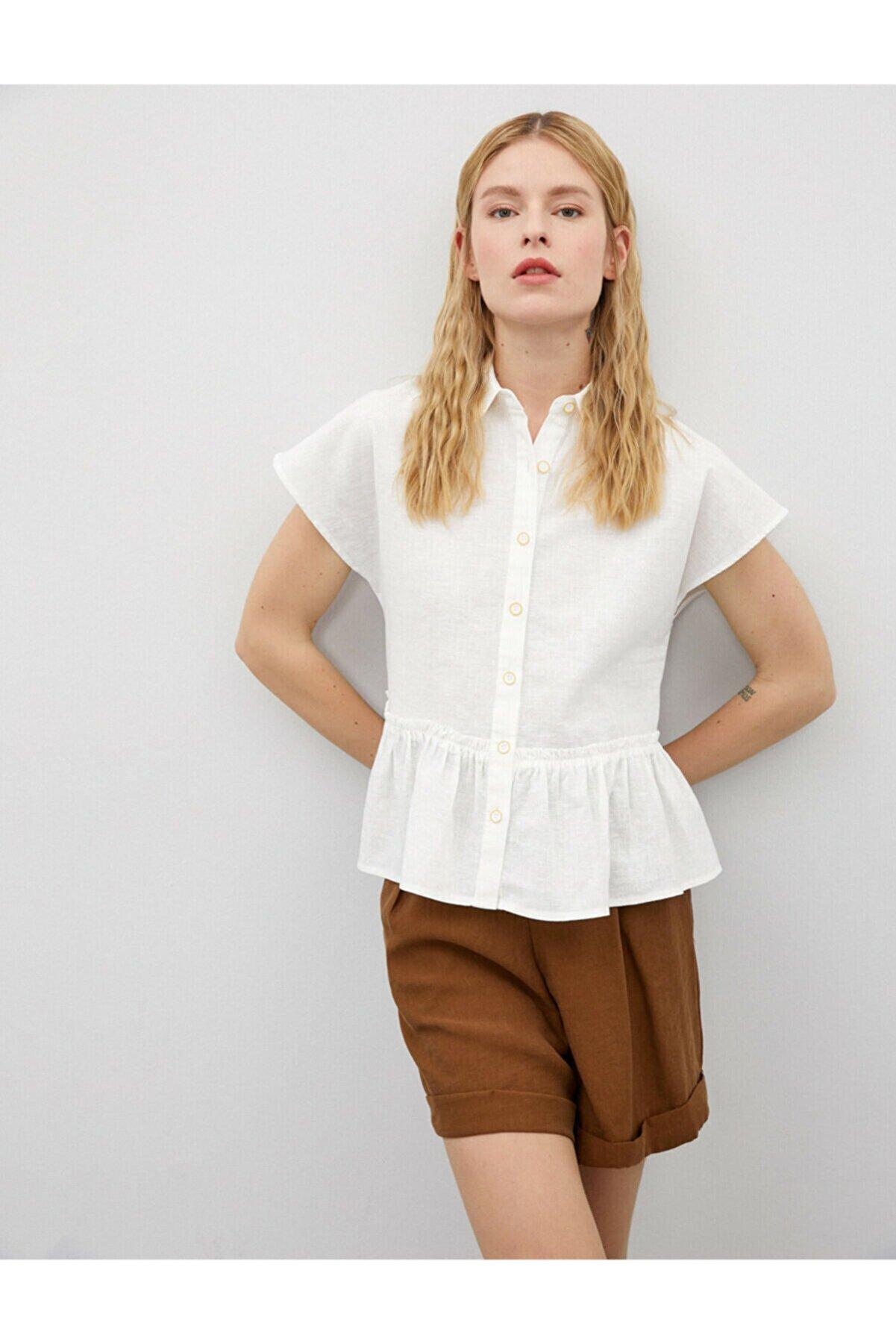 Koton Kadın Beyaz Kisa Kollu Düşmeli Gömlek