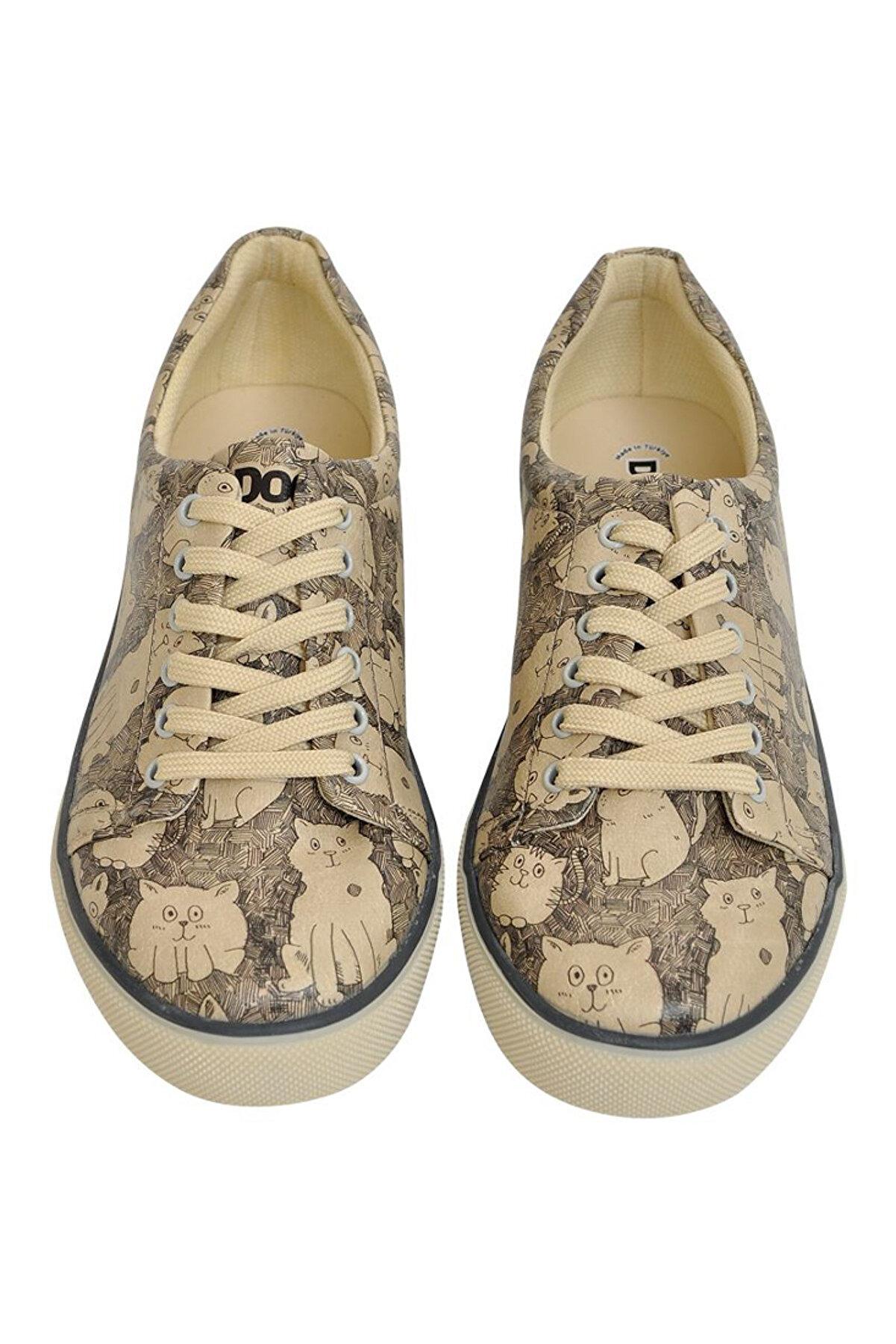 Dogo Its Raining Cats / Tasarım Baskılı Vegan / Sneakers Kadin Ayakkabi