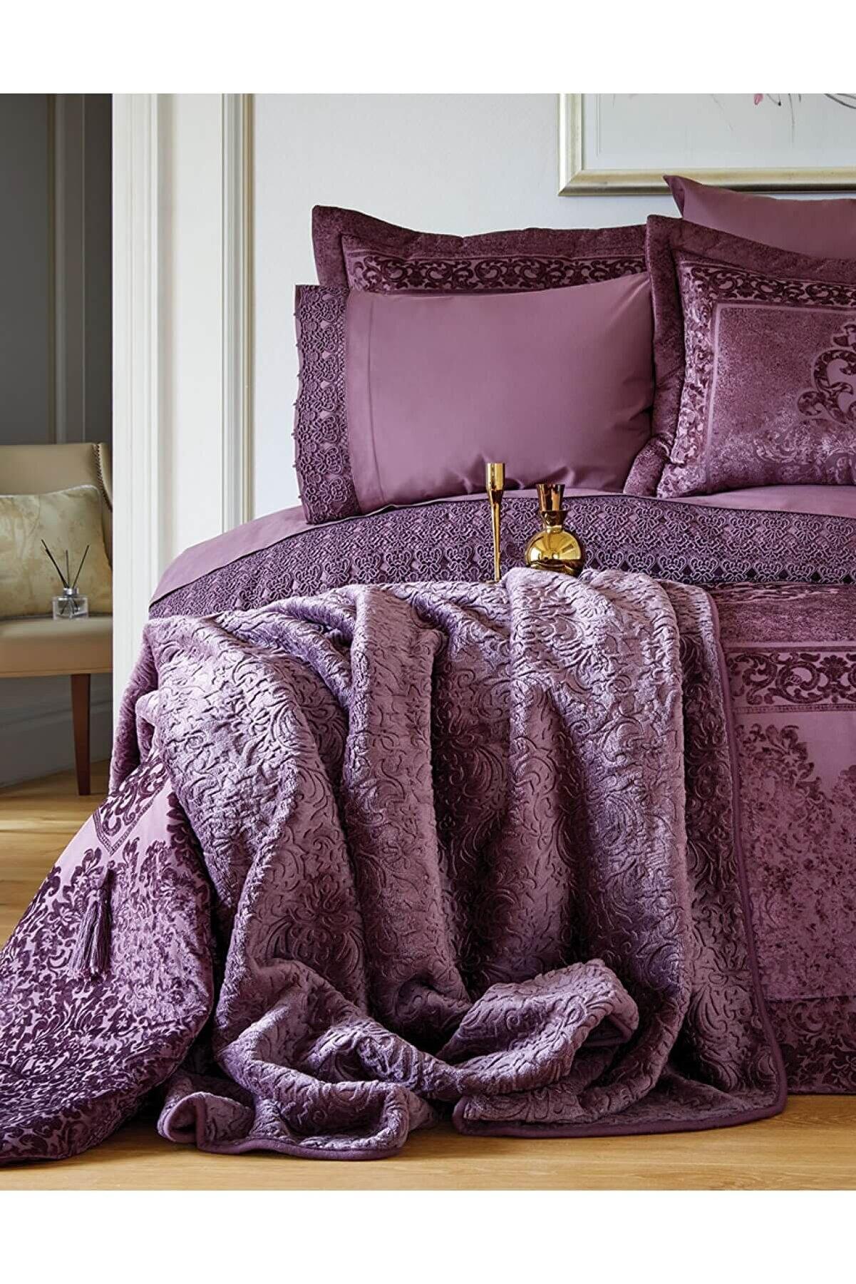 Karaca Home Valeria Prime 2018 Mürdüm Yatak Örtüsü