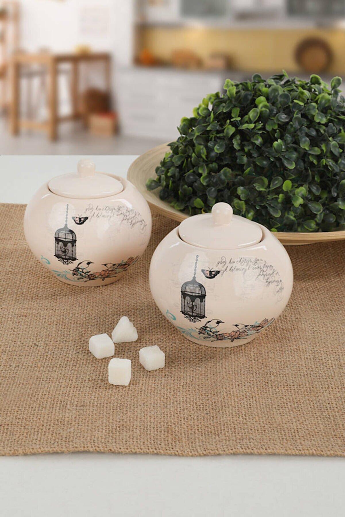 Keramika Retro Şekerlik 10 Cm 2 Adet
