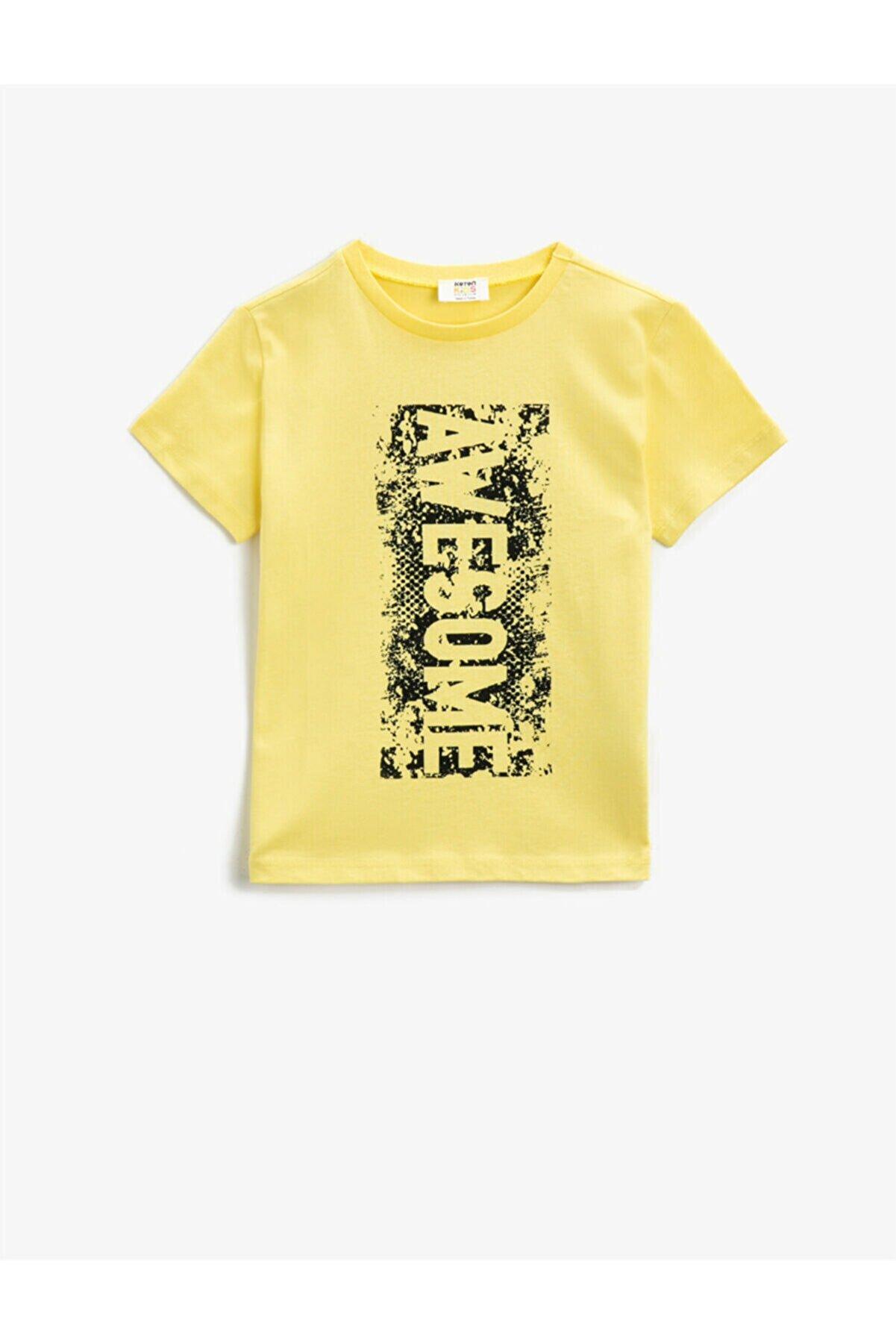 Koton Erkek Çocuk Sarı Kısa Kollu Bisiklet Yaka T-Shirt