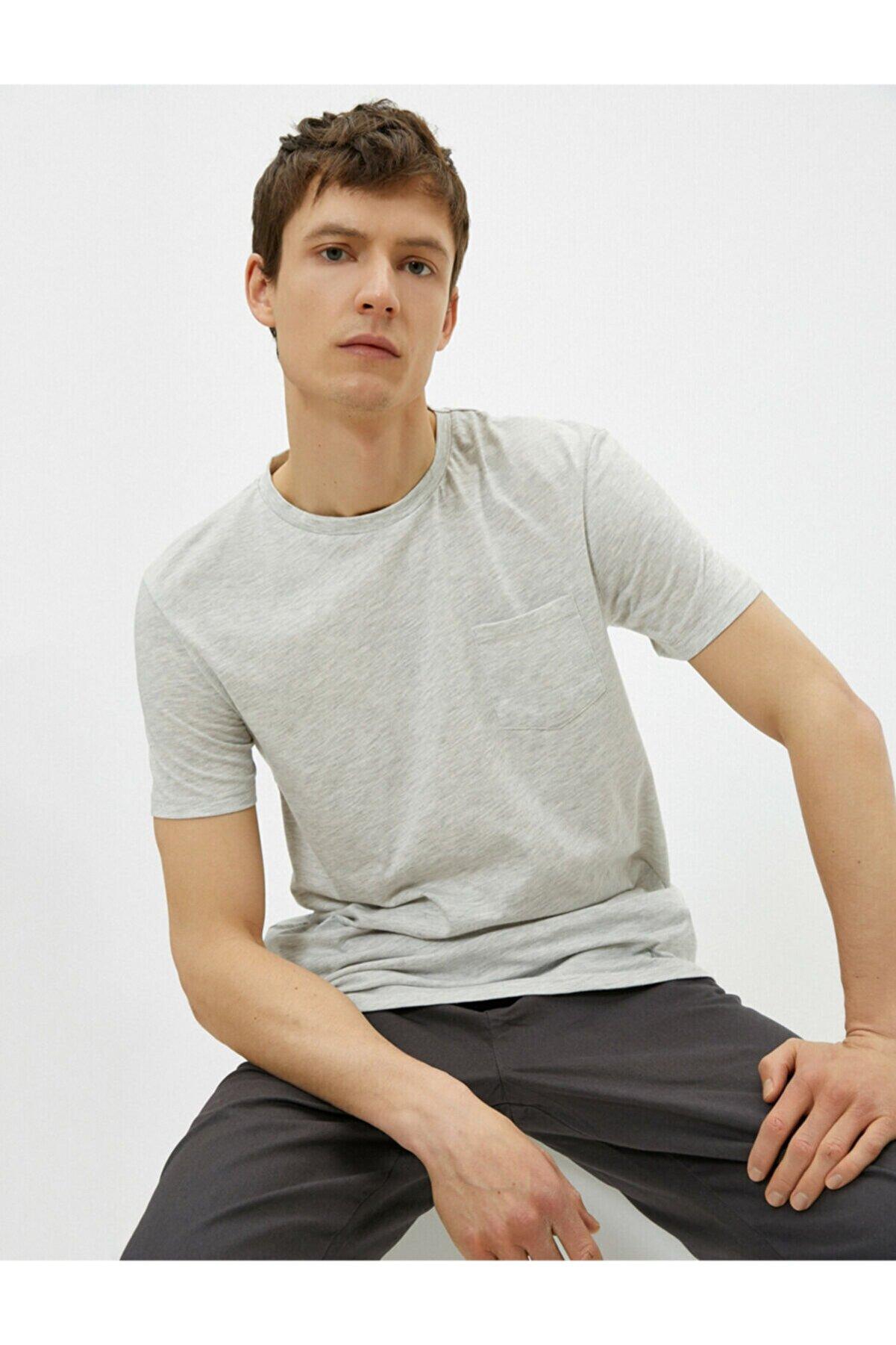 Koton Erkek Kisa Kollu Bisiklet Yaka Cepli T-Shirt
