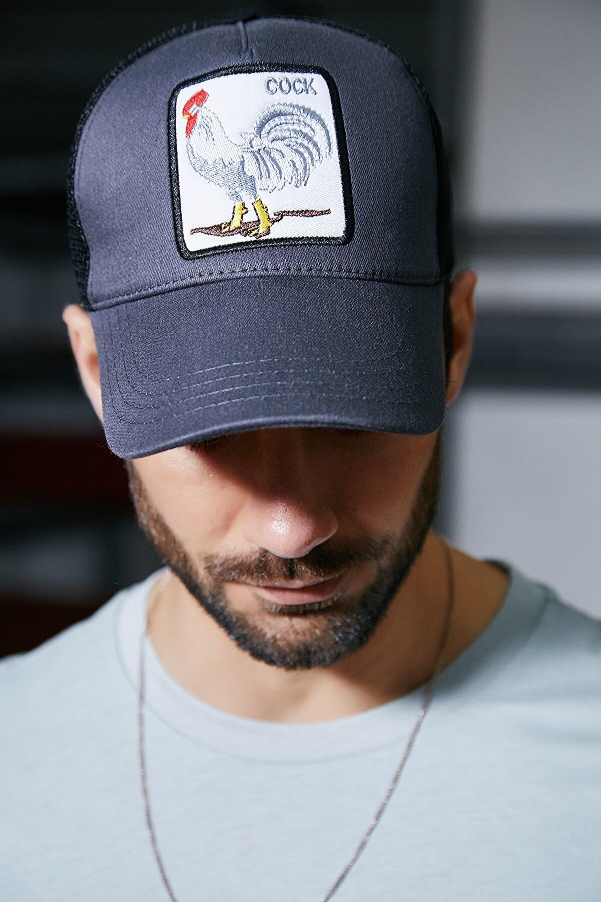 Sateen Men Erkek Antrasit Nakışlı Şapka
