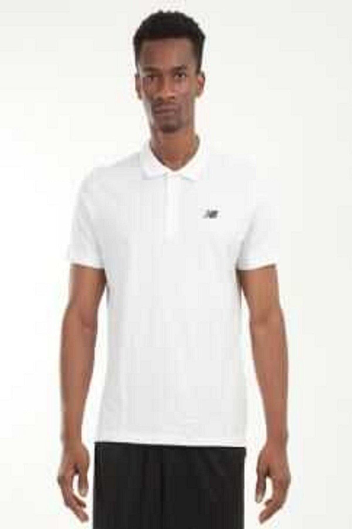 New Balance Logo Mens Polo Tee Beyaz Erkek Polo Tişört - Nbtm2000-wt