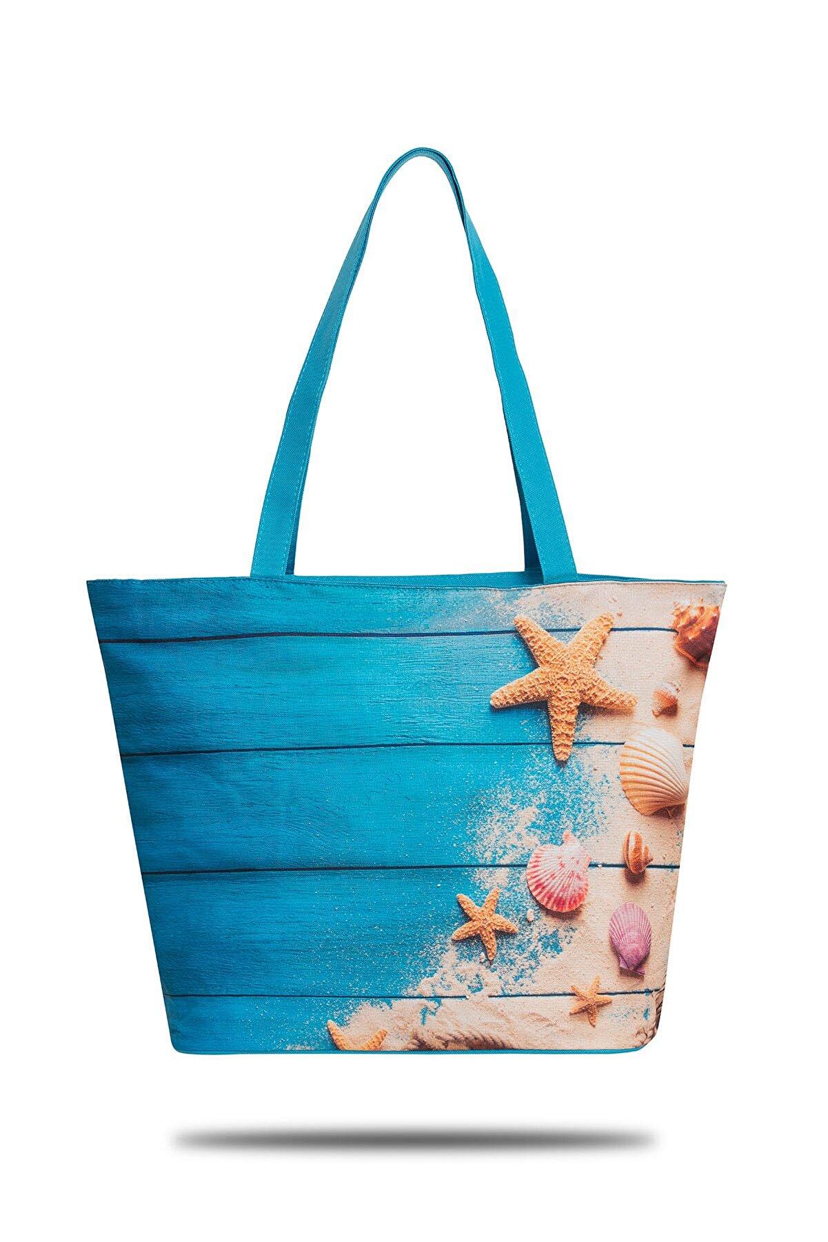 GNC DESİGN Mavi Kadın Plaj Çantası GNCP 703