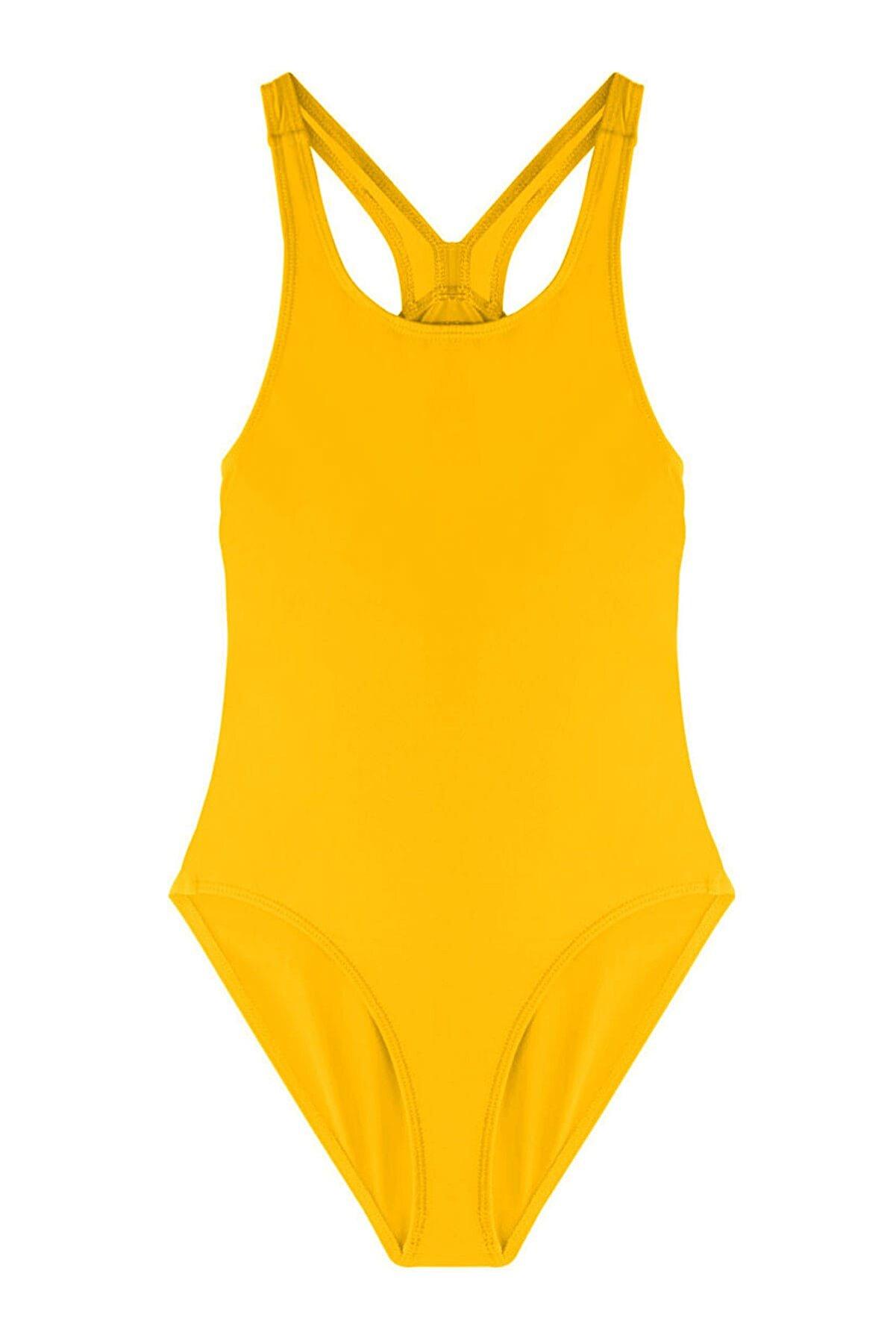 AYYILDIZ Kız Çocuk Sarı  Yüzücü Mayosu