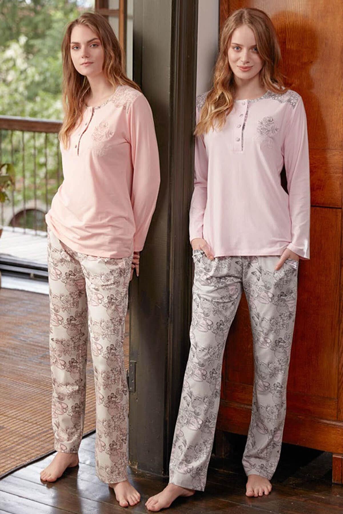 Feyza Pijama Kadın Somon 2'Li Penye Pijama Takımı