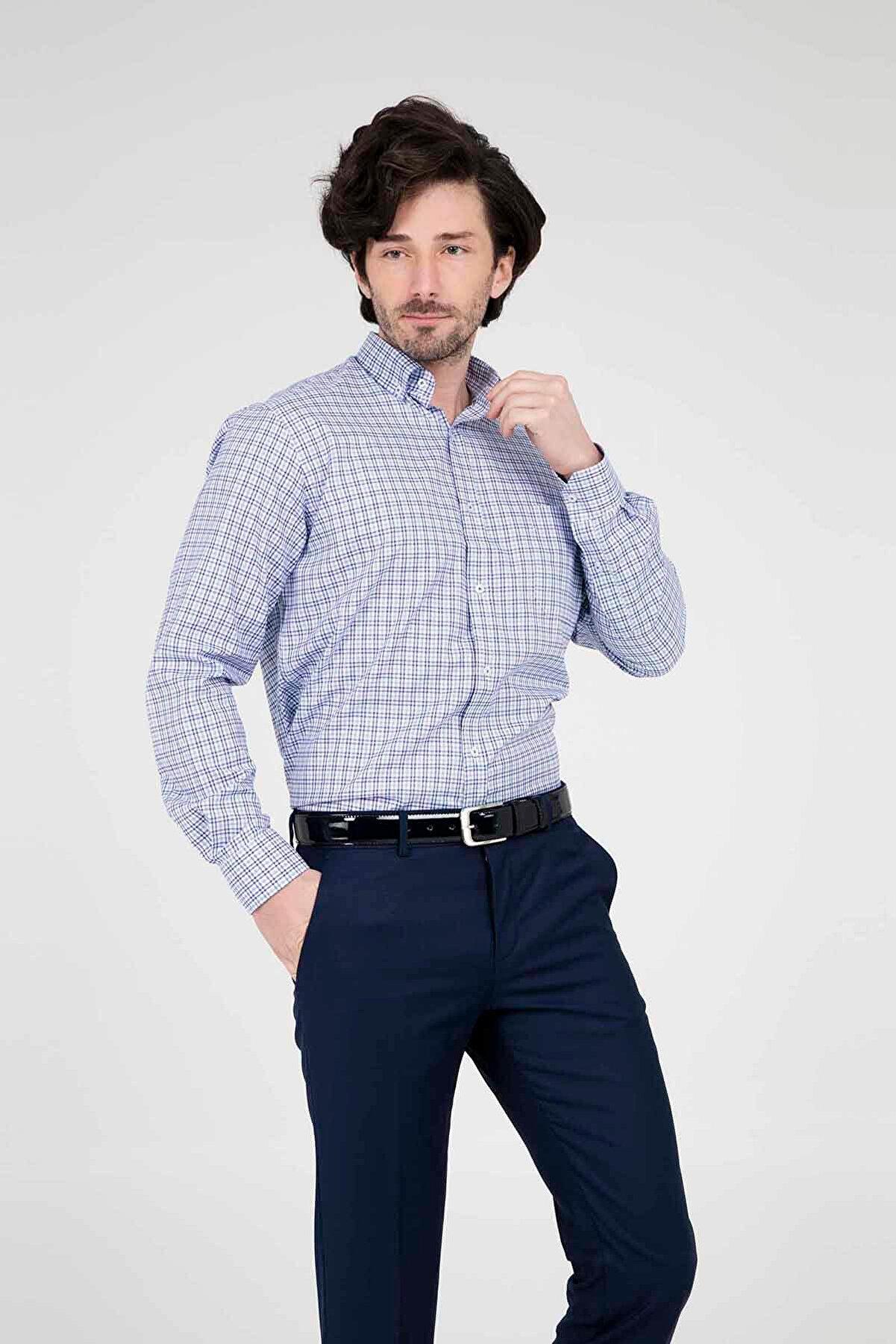 Abbate Erkek Orta-Mavi Uzun Kollu Gömlek - 1Gm91Uk1263R 567