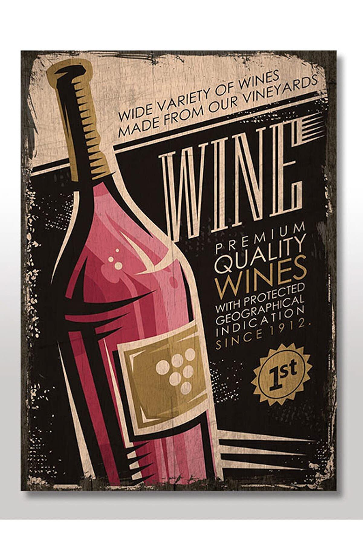 Cakatablo 50cmX70cm Ahşap Tablo Şarap Afişi