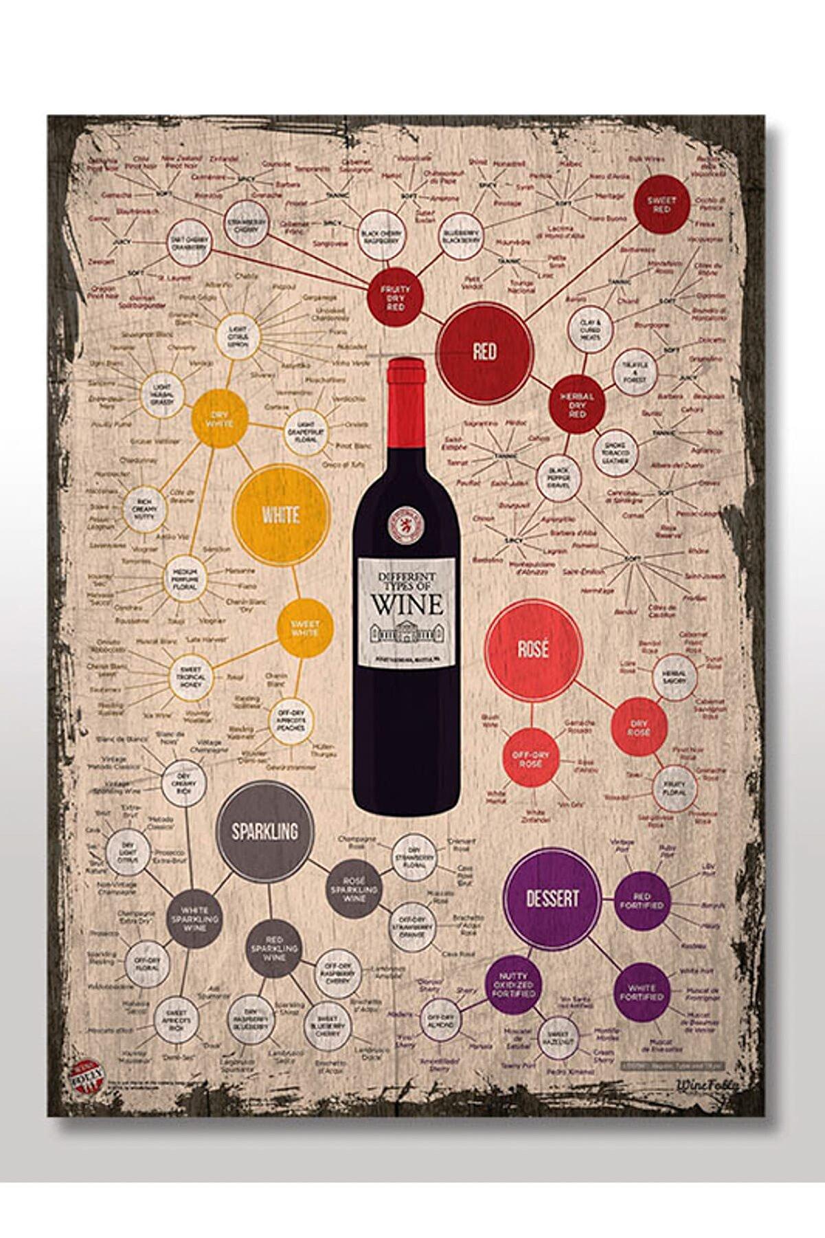 Cakatablo 50cmX70cm Ahşap Tablo Retro Şarap Türleri