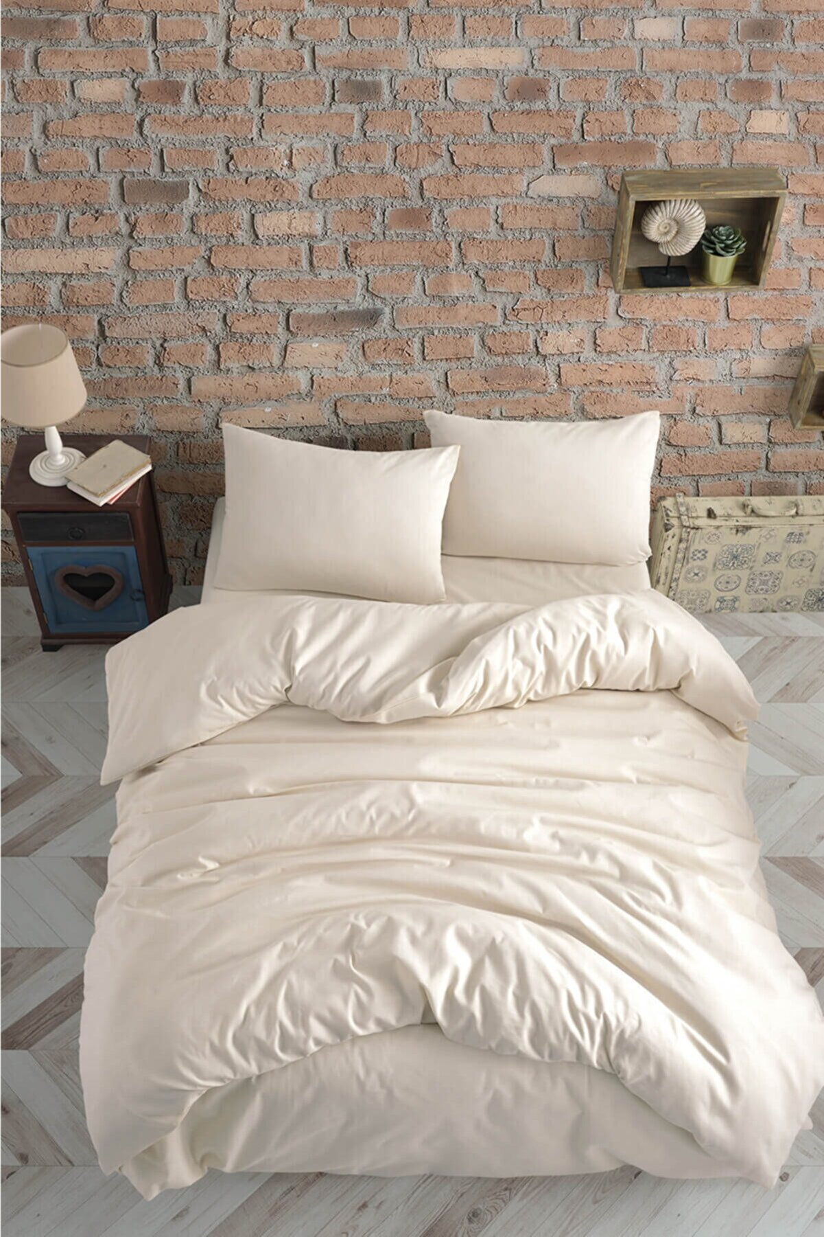 Cotton Touch Plain Series Ranforce Krem Çift Kişilik Nevresim Takımı