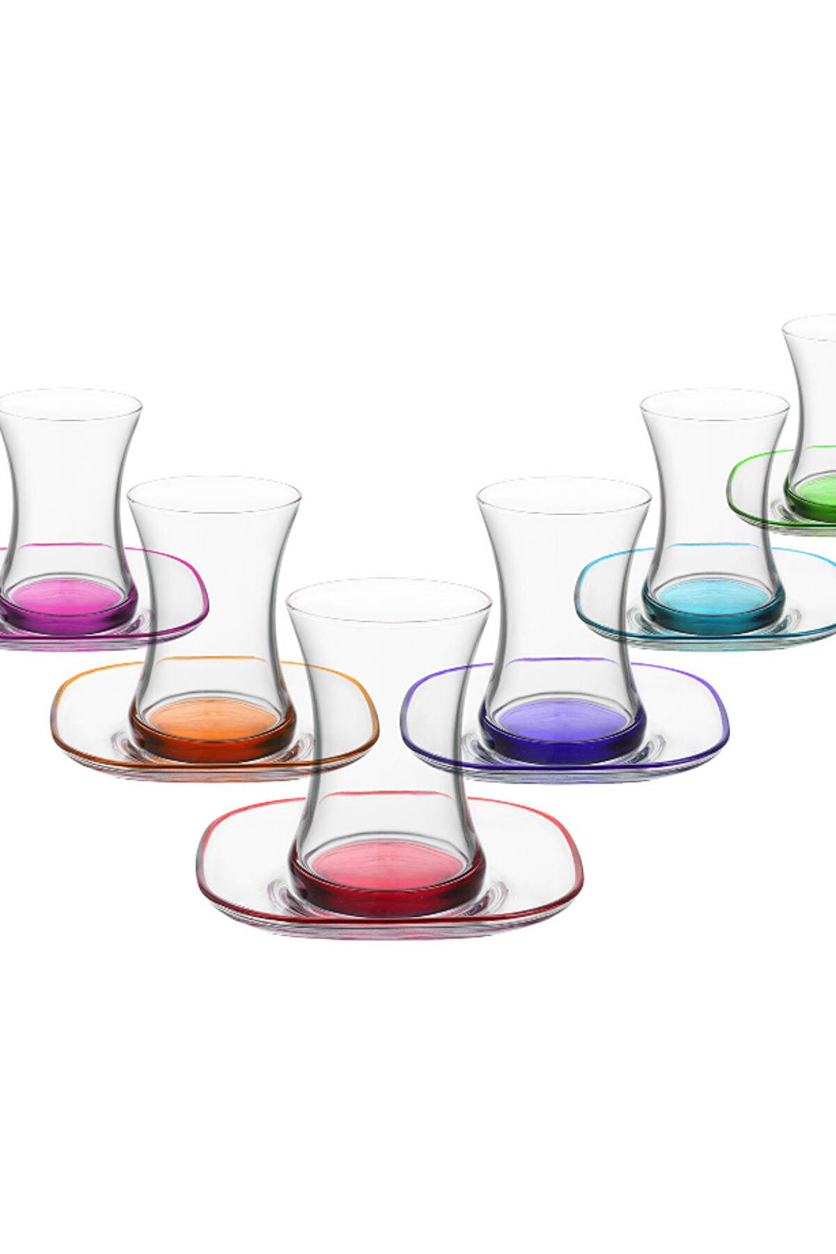 Lav Zen Renkli Tabanlı 12 Parça Çay Seti