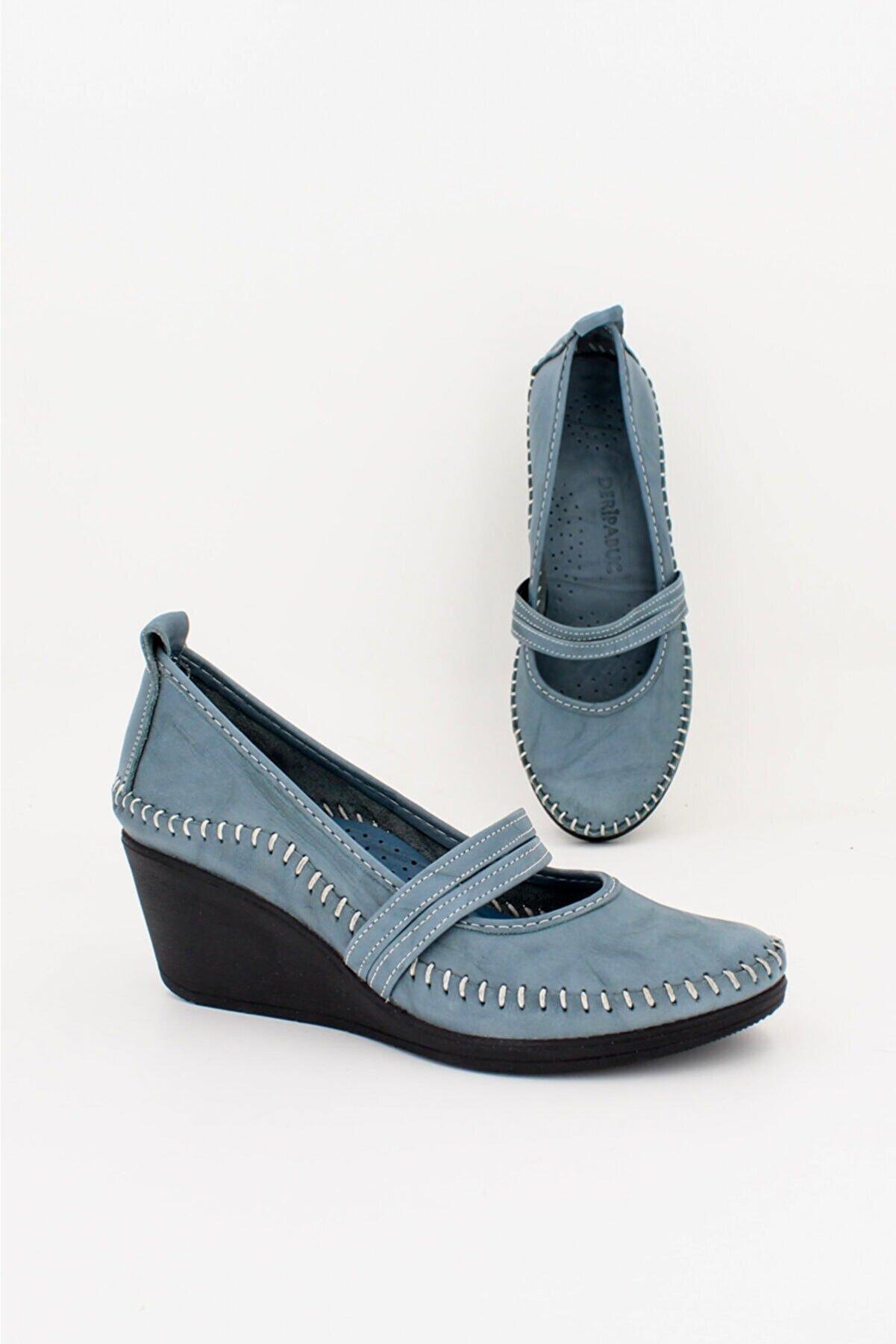 Deripabuc Hakiki Deri Kot Mavi Kadın Dolgu Topuklu Deri Ayakkabı ARS-0135