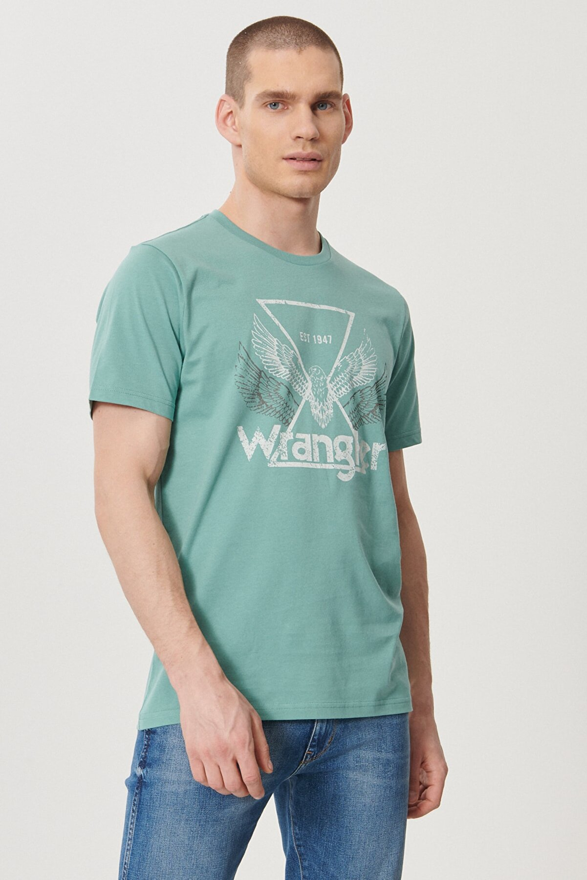 Wrangler Erkek Yeşil Regular Fit Bisiklet Yaka T-Shirt