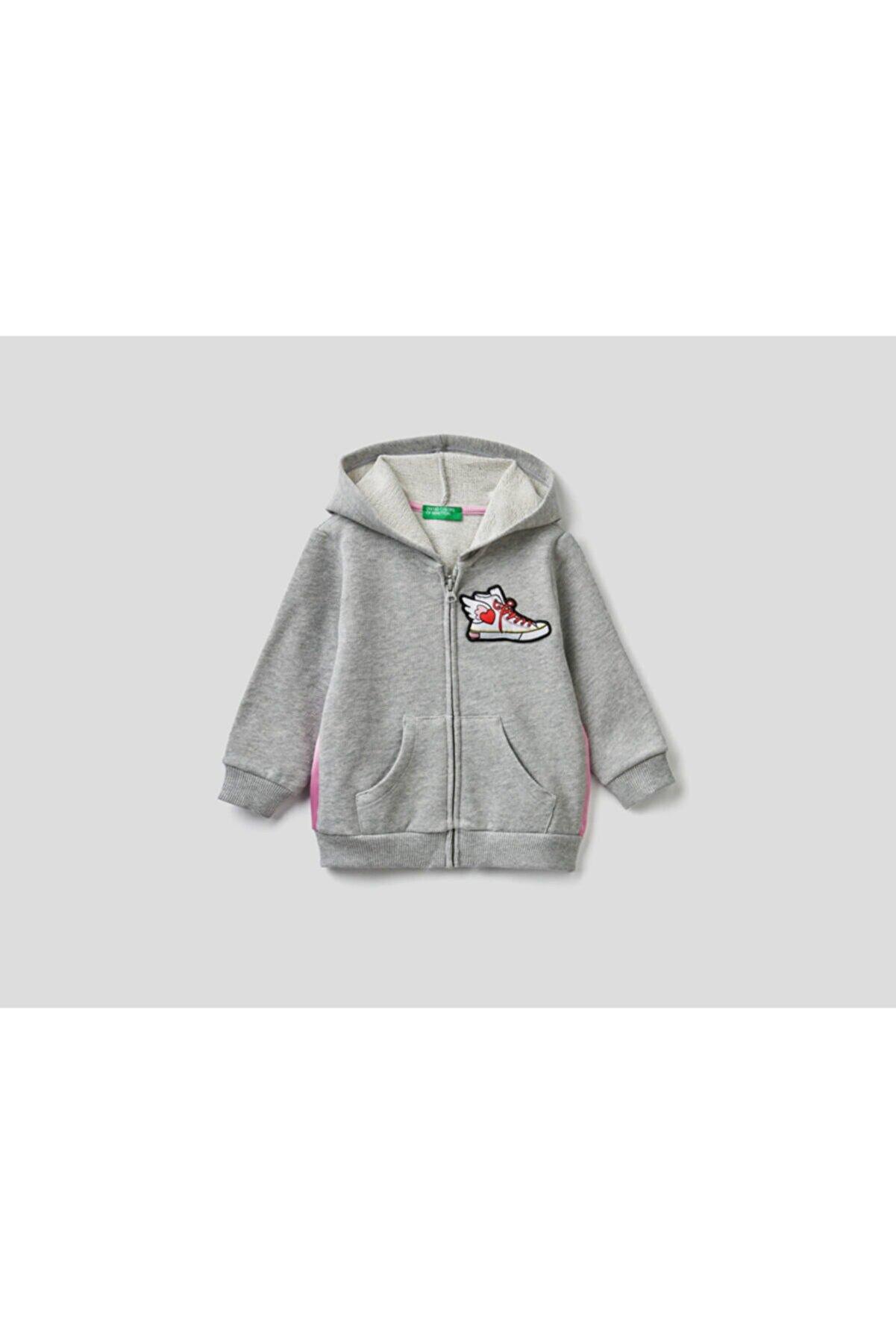 Benetton Çocuk Gri Aplikeli Sweatshirt