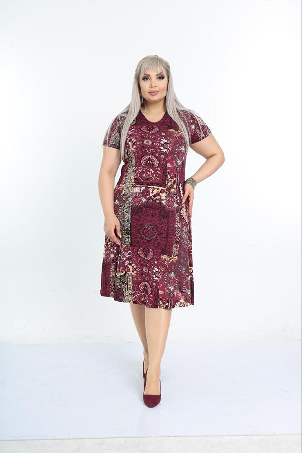 Şirin Butik Kadın Büyük Beden Bordo Etnik Desenli Günlük Viskon Elbise