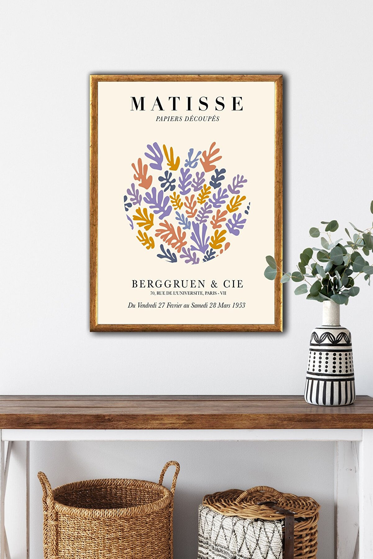 Ren House Matisse Papiers Single Çerçeveli Henri Matisse Modern Poster Tablo