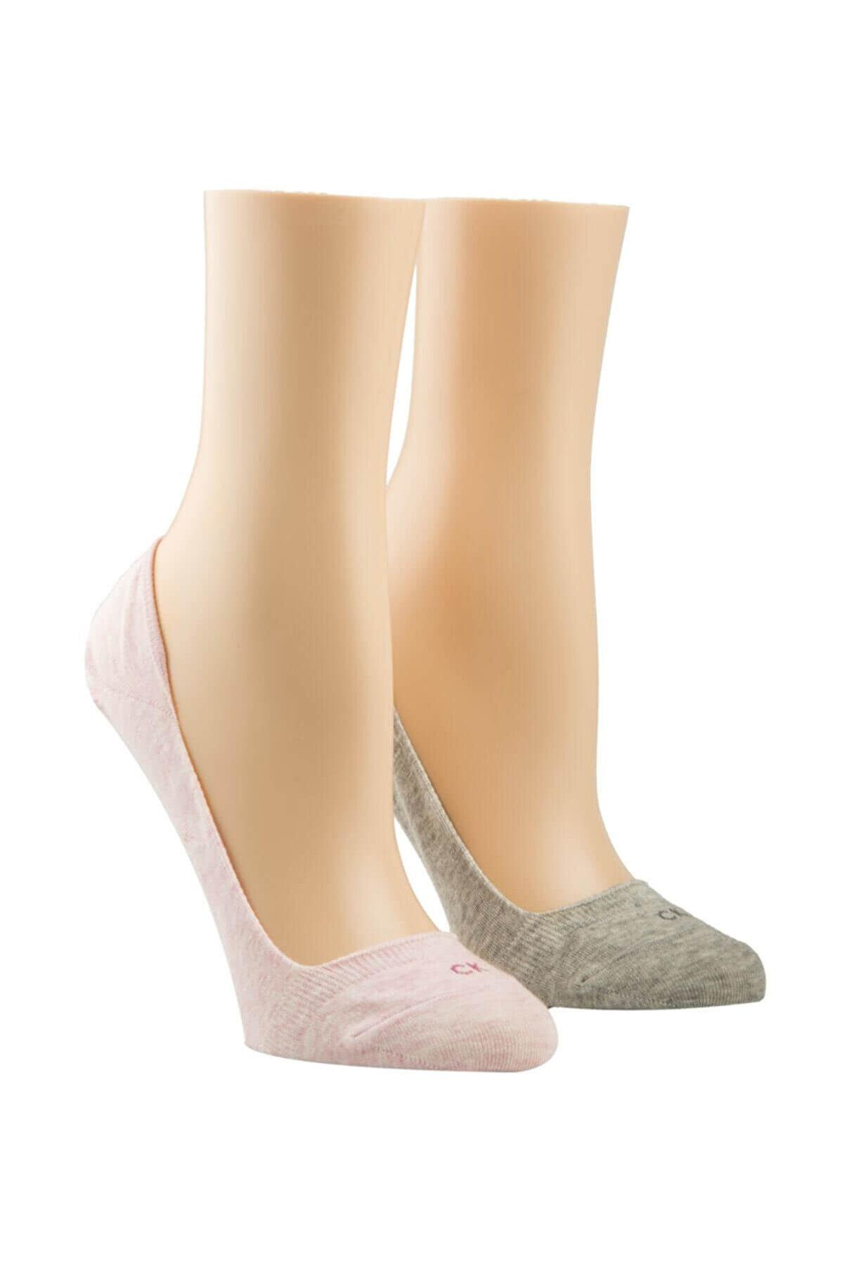 Calvin Klein Kadın Gri Pembe 2 Li Çorap TUMYILECA632-G59