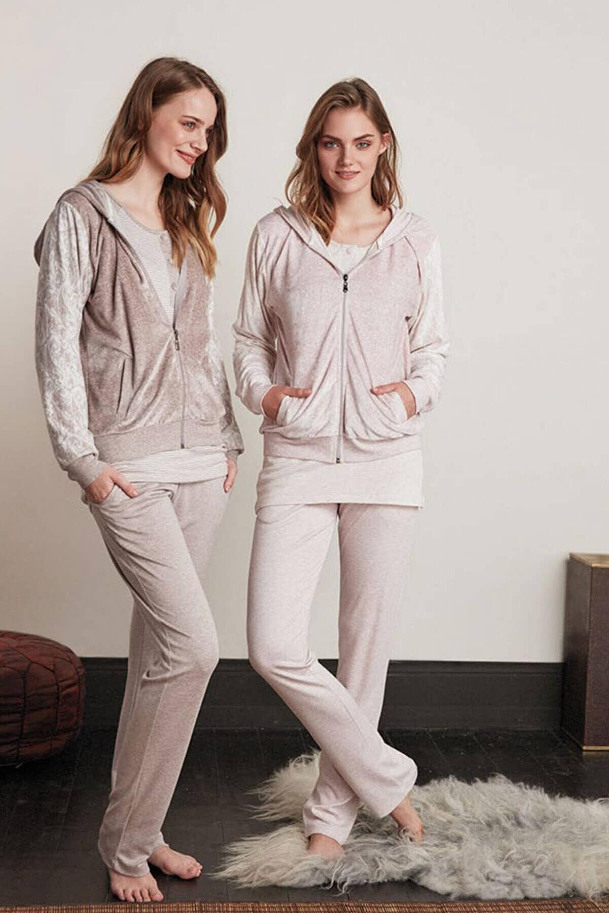 Feyza Pijama Kadın Pembe 3'Lü Kapşonlu Kadife Pijama Takımı
