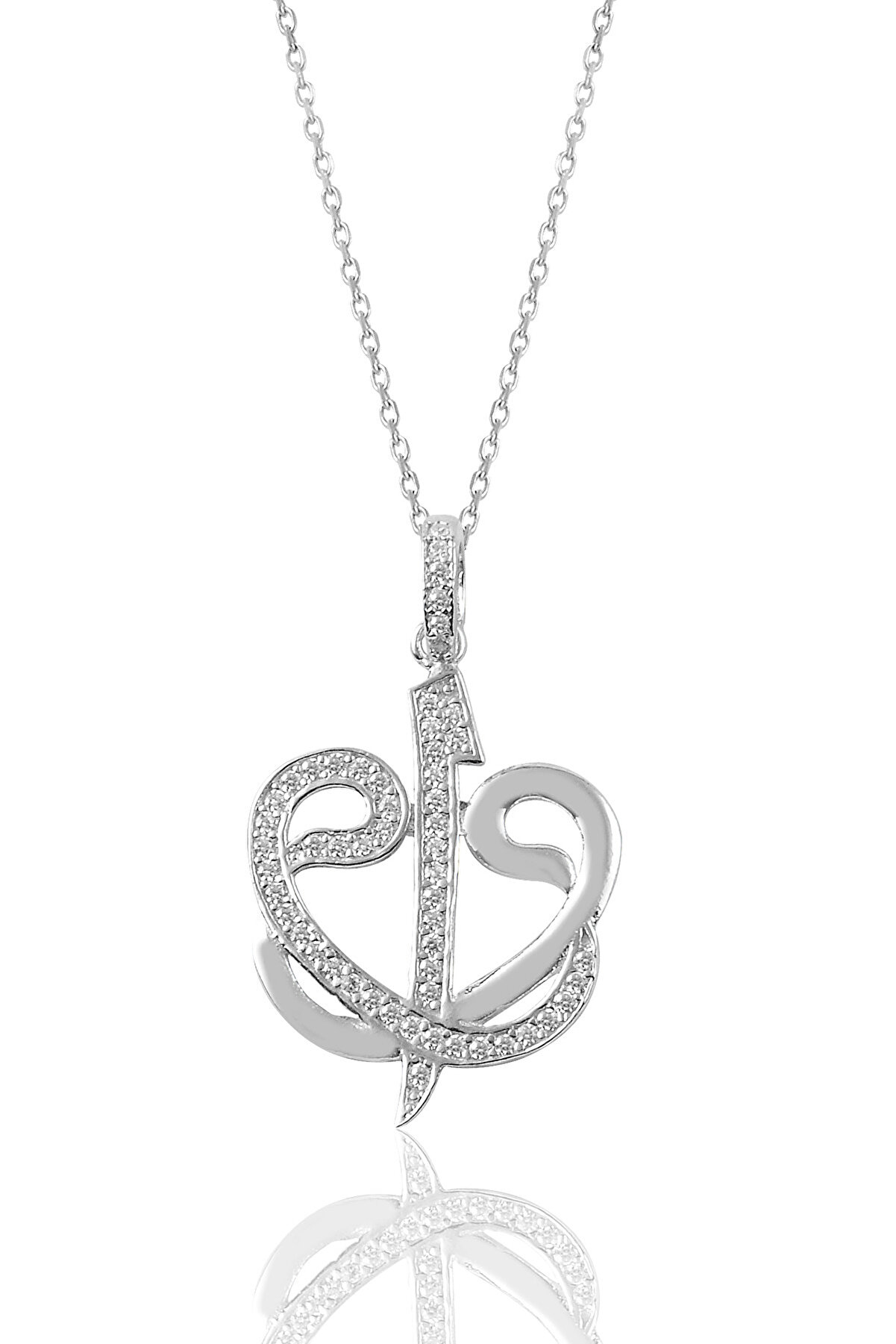 Söğütlü Silver Kadın Gümüş Zirkon Taşlı Çift Vav Ve Elif Harfi Kolye SGTL9064