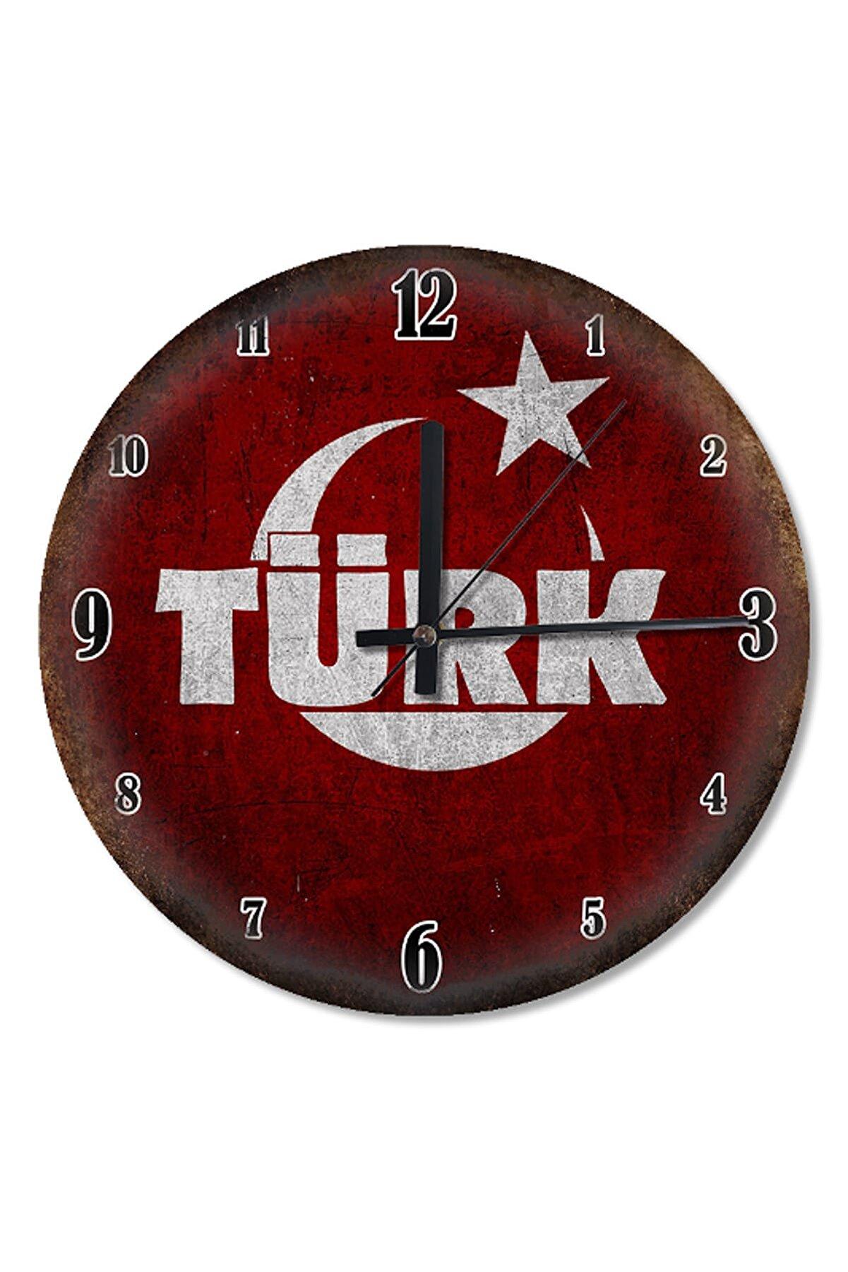 Cakatablo 30 Cm Çap Türk Yazı Bayrak Sessiz Duvar Saati