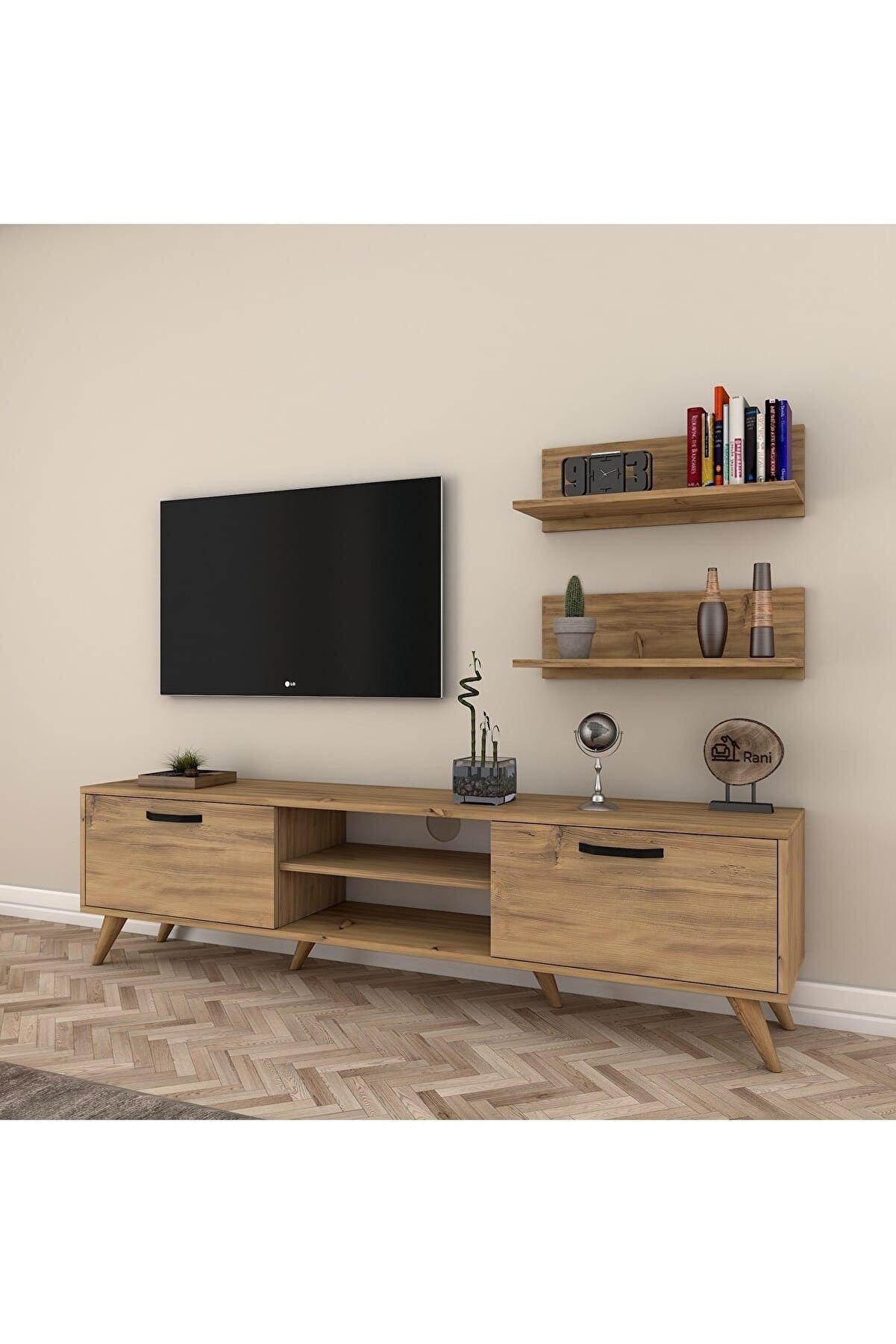 Rani Mobilya Rani A5 Duvar Raflı Kitaplıklı Tv Ünitesi Modern Ayaklı Tv Sehpası Ceviz M48