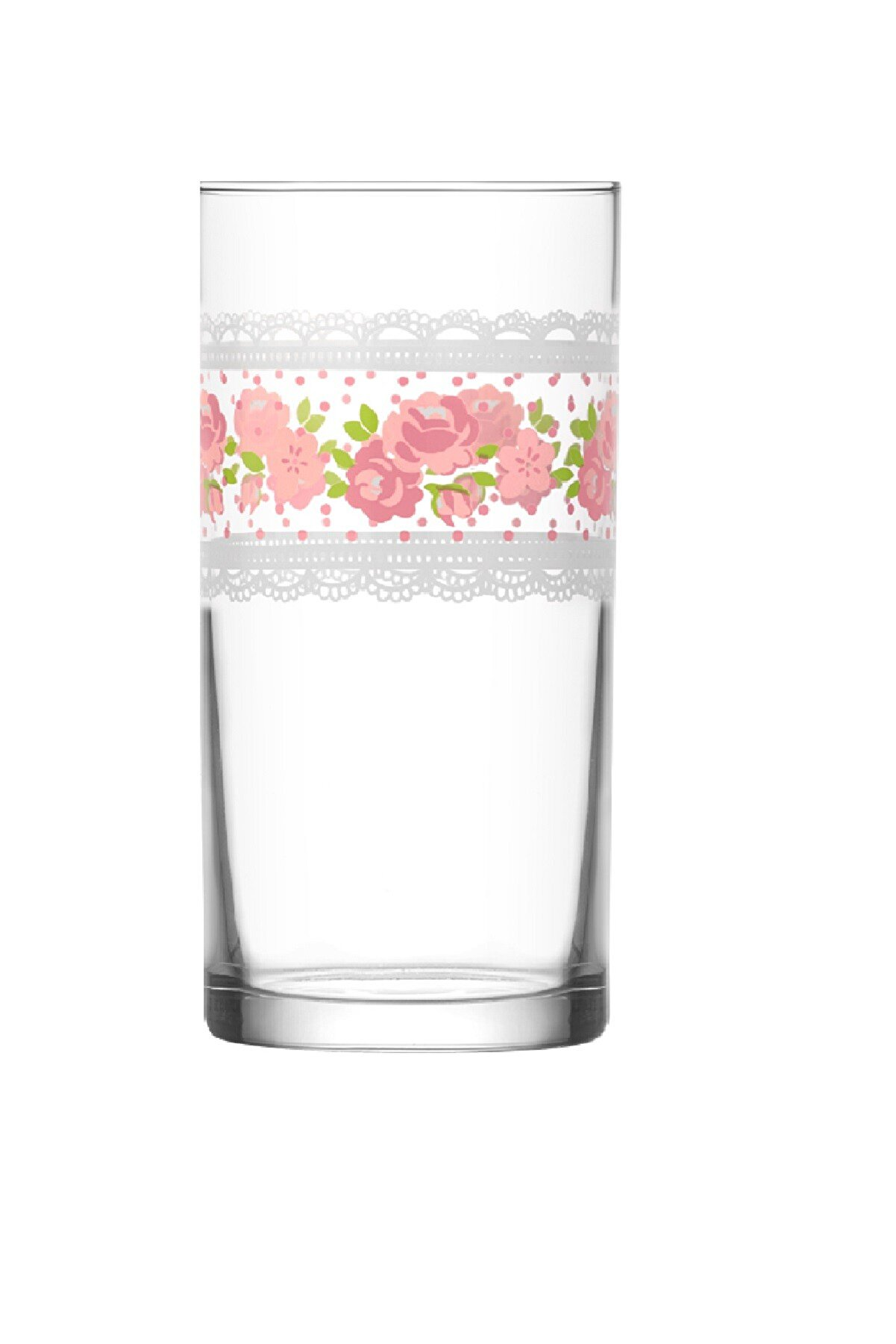 Lav Beyaz Dantel Çiçek Tek Parça Meşrubat Bardağı