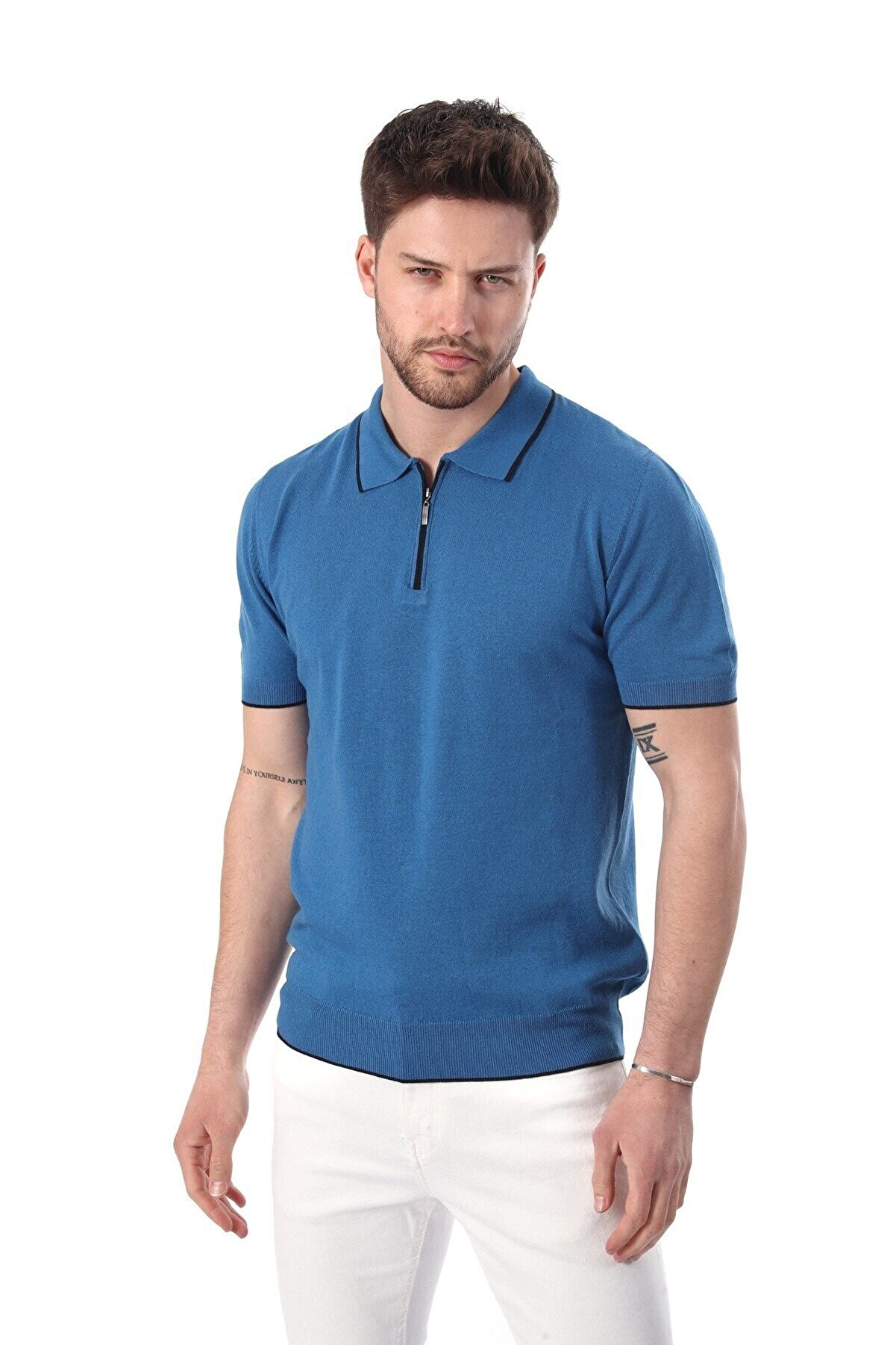 Ferraro Erkek Mavi Havacı Yaka Şerit Fermuarlı Pamuk Triko T-shirt