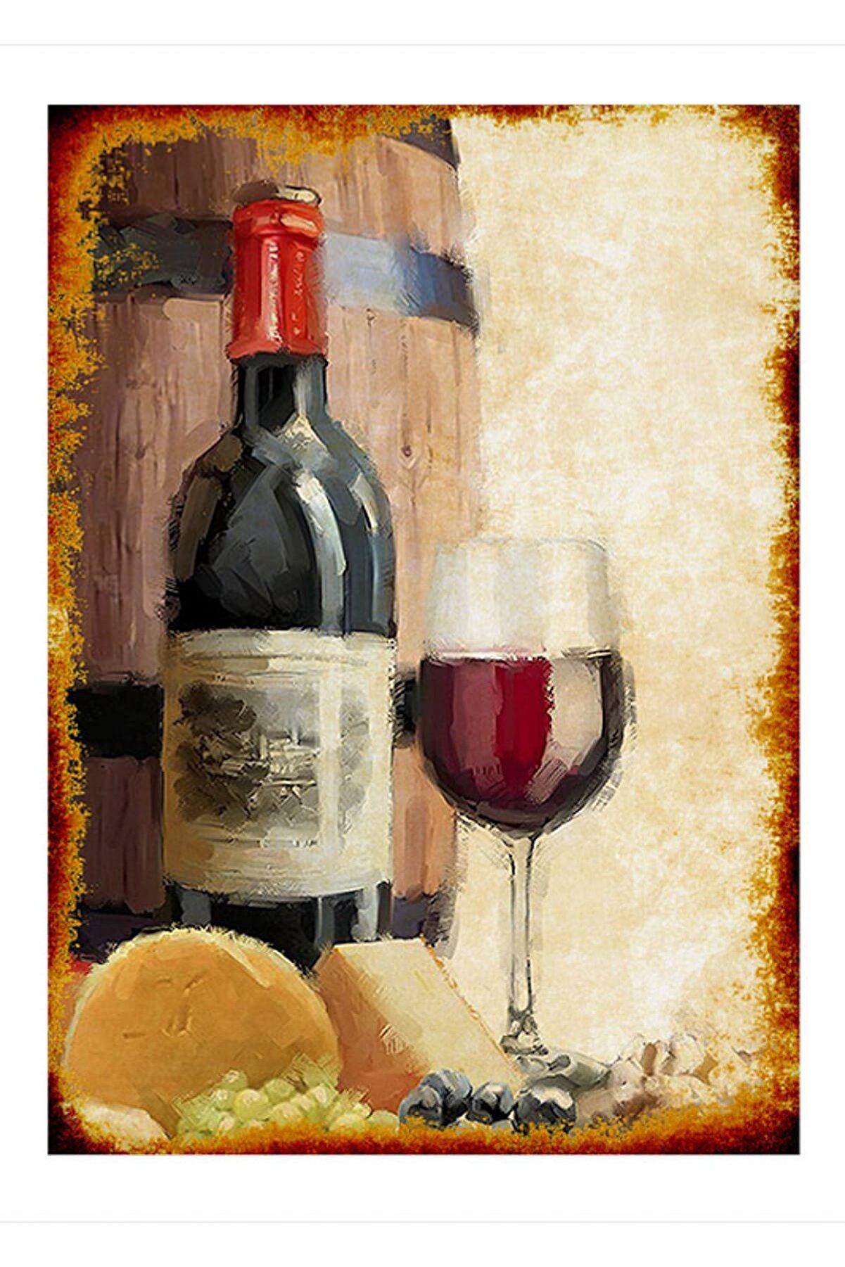 Cakatablo 50cmX70cm Ahşap Tablo Kırmızı Şarap