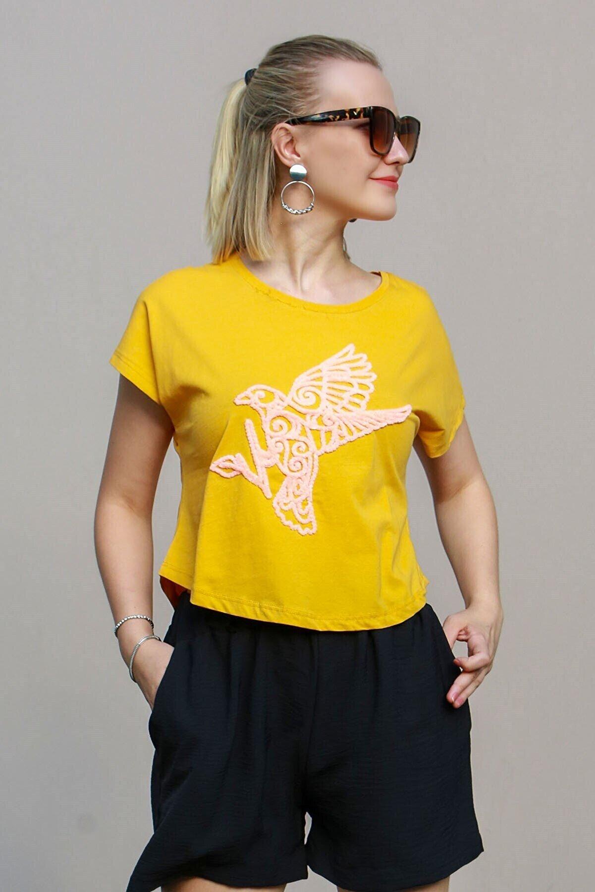 Madmext Kadın Sarı Nakışlı T-Shirt Mg614-2
