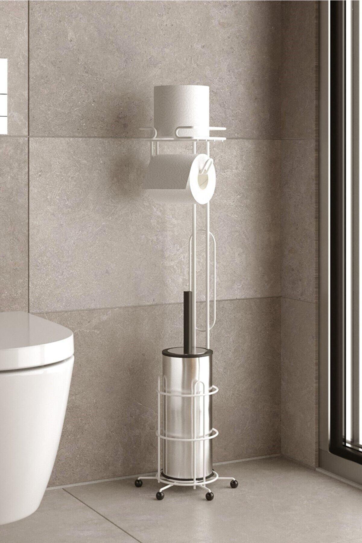 Teknotel Ayaklı Tuvalet Fırçası Ve Yedekli Tuvalet Kağıtlık Beyaz Mg096