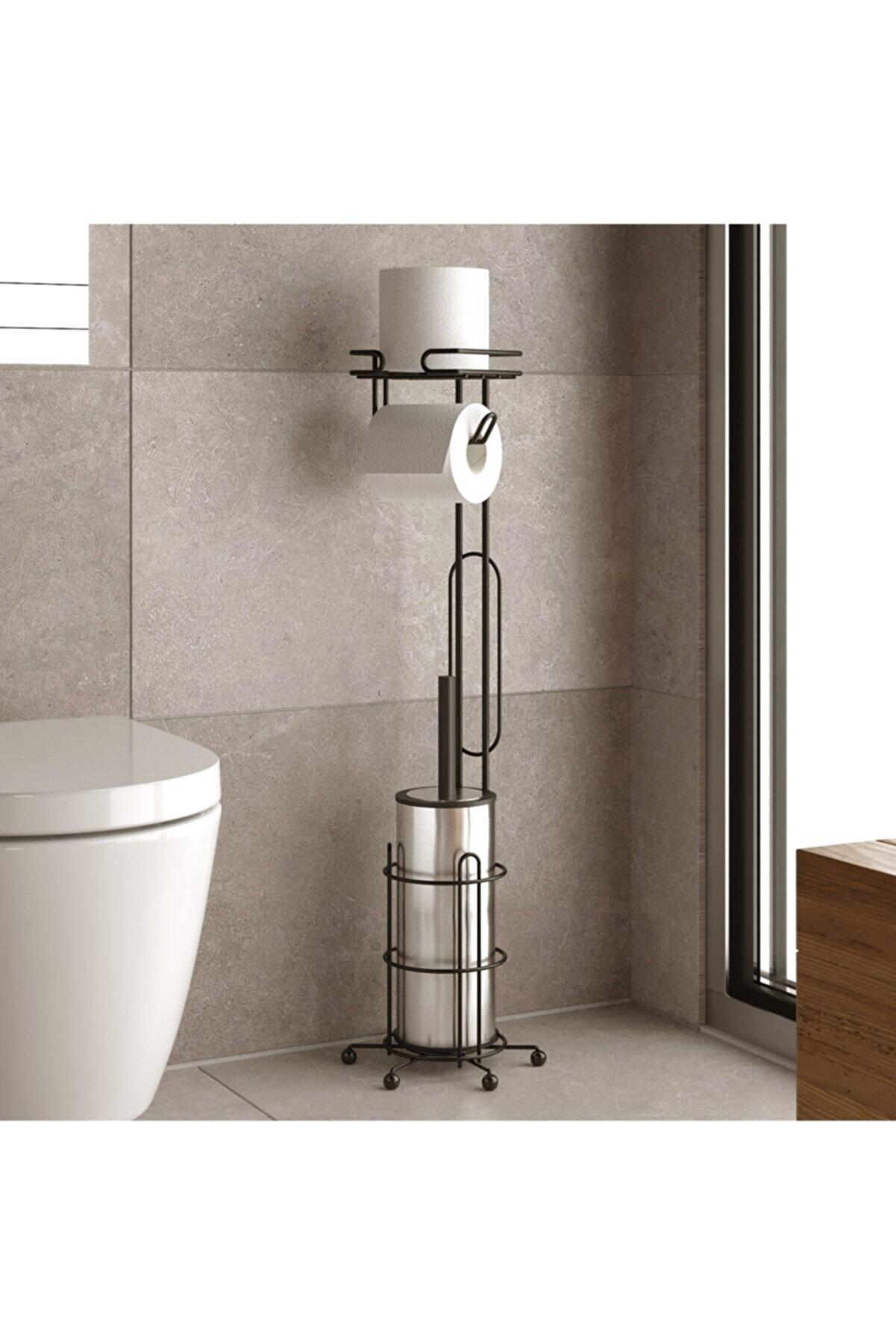 Teknotel Ayaklı Tuvalet Fırçası Ve Yedekli Tuvalet Kağıtlık Mat Siyah Mg096