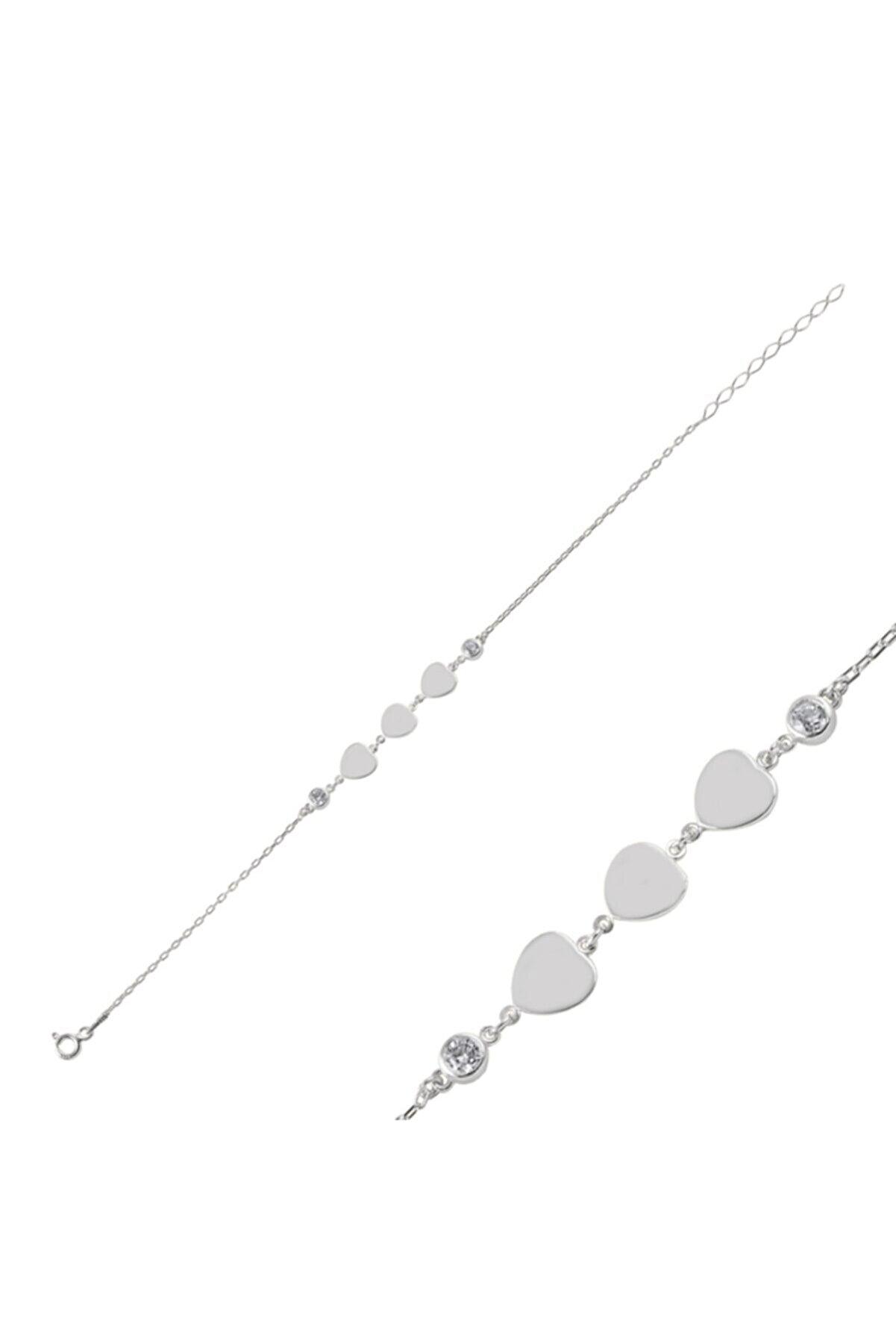 Kutaydan Kadın Gümüş 925 Ayar Zirkon Taşlı Kalp Bileklik