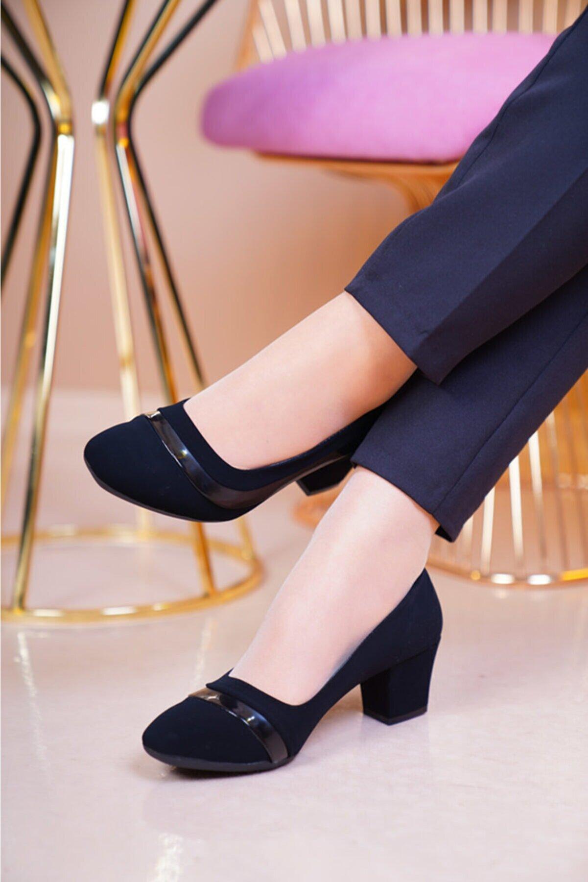 MERVESTORE Kadın Siyah Nubuk Klasik Ayakkabı