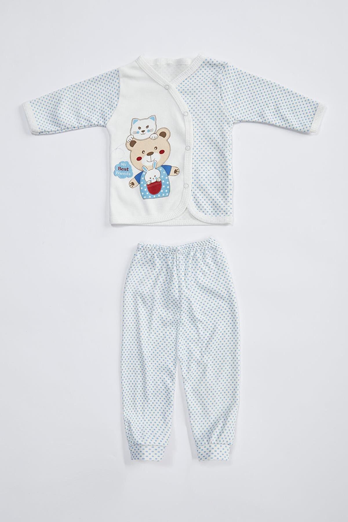 Defacto Erkek Bebek Ayıcık Baskılı Alt ve Üst Pamuklu Takım