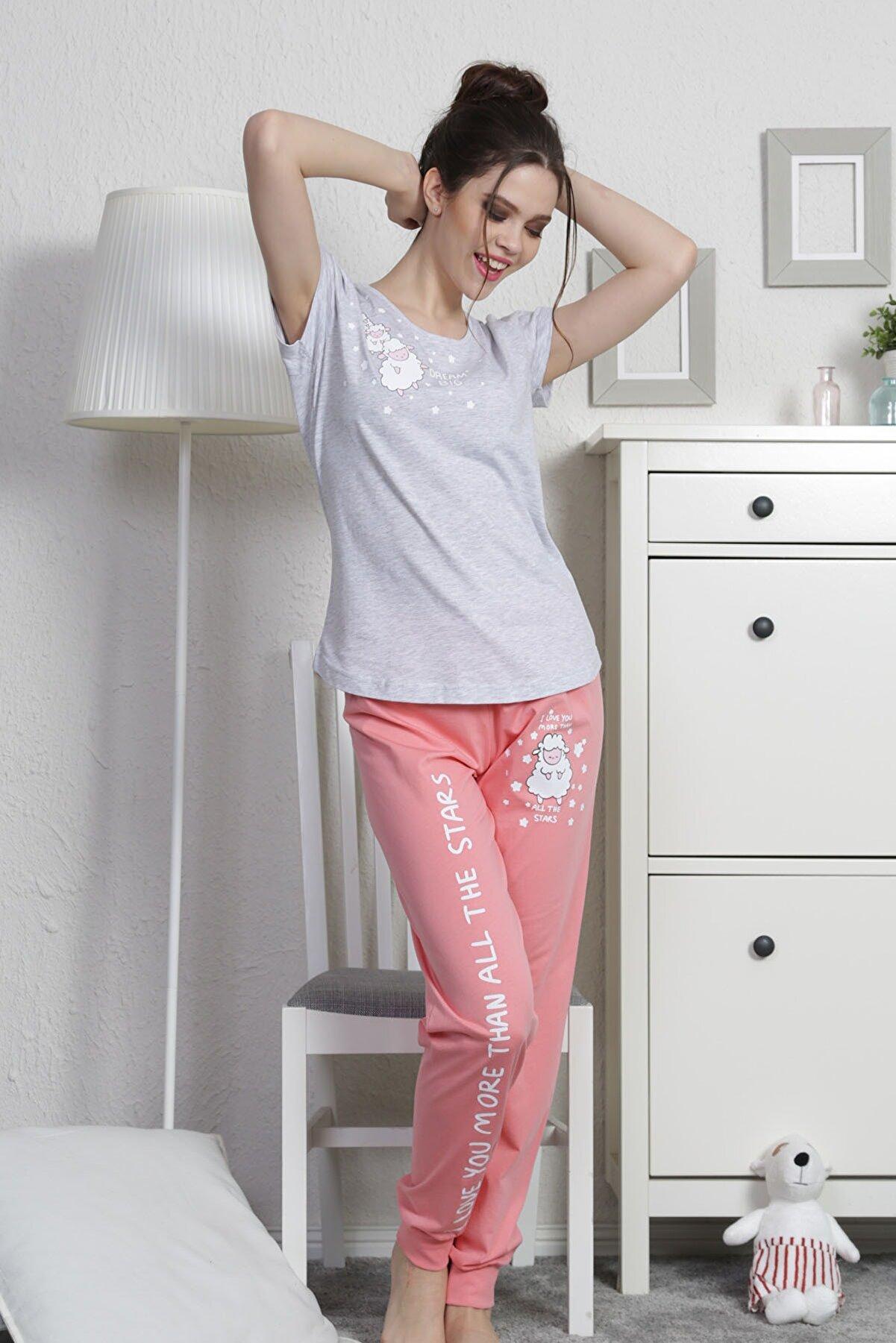Vienetta Kadın Kısa Kol Normal Beden Suprem Pijama Takım